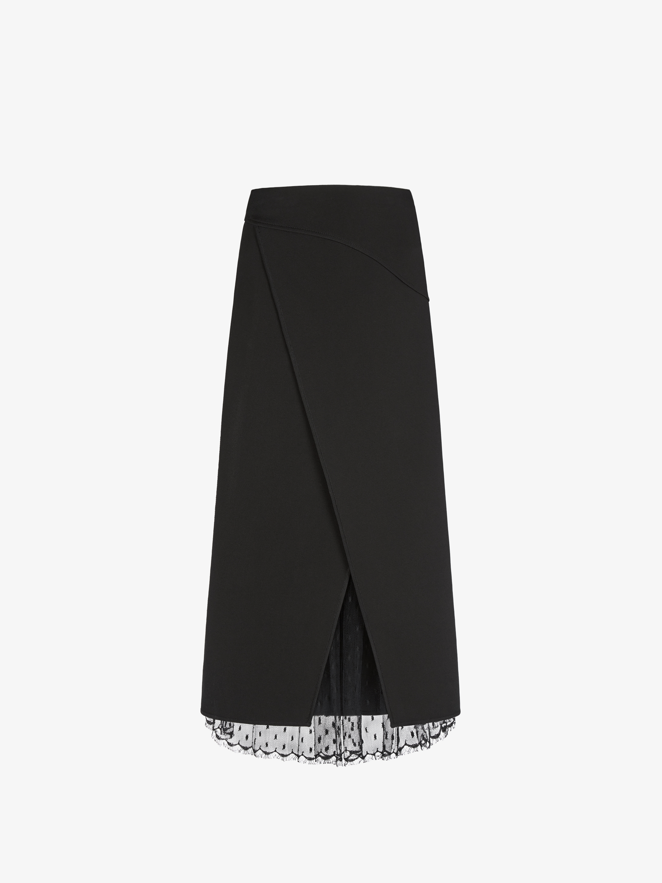 Wrap skirt in viscose and lace