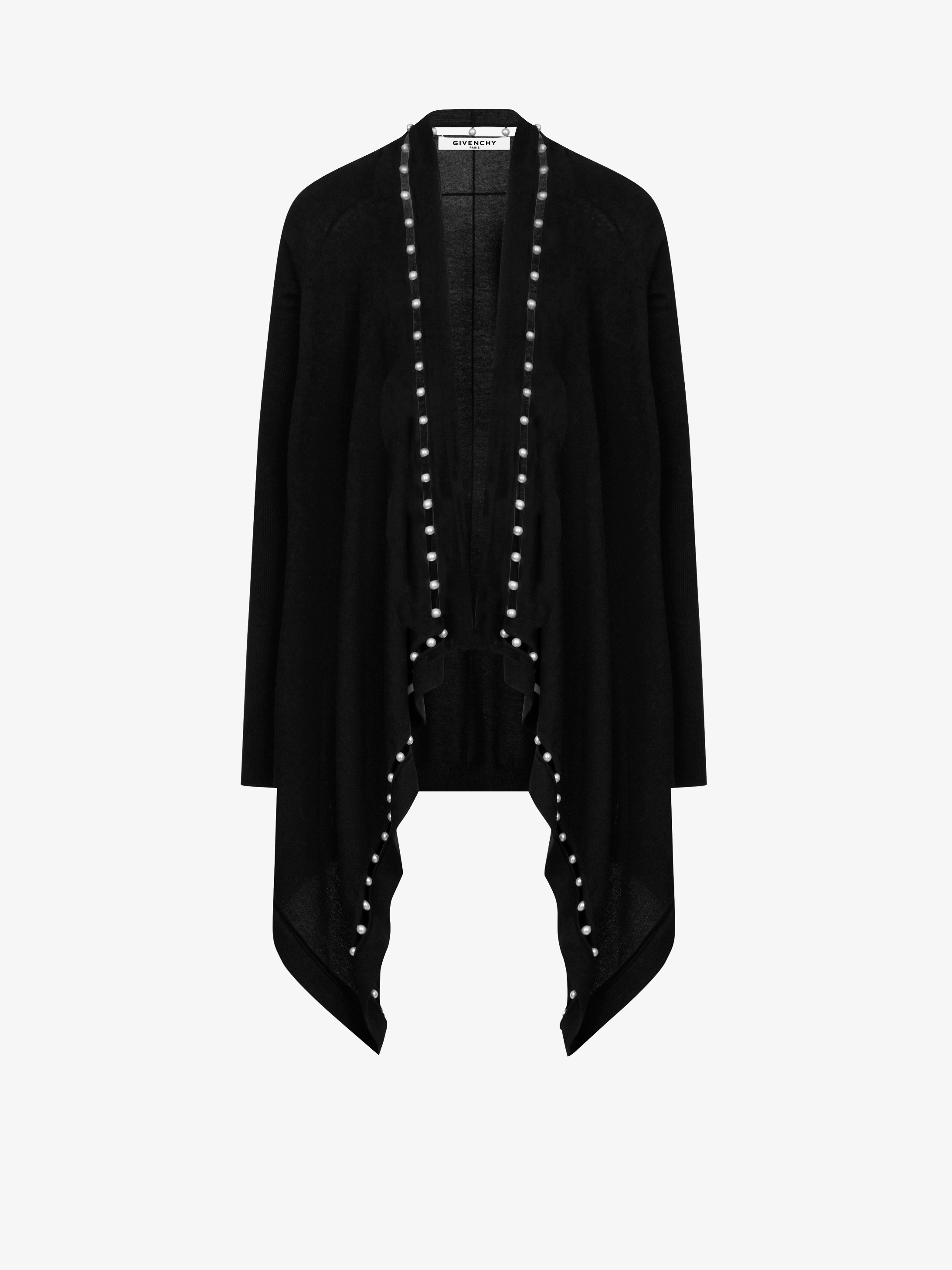 Pearls drapped long cardigan