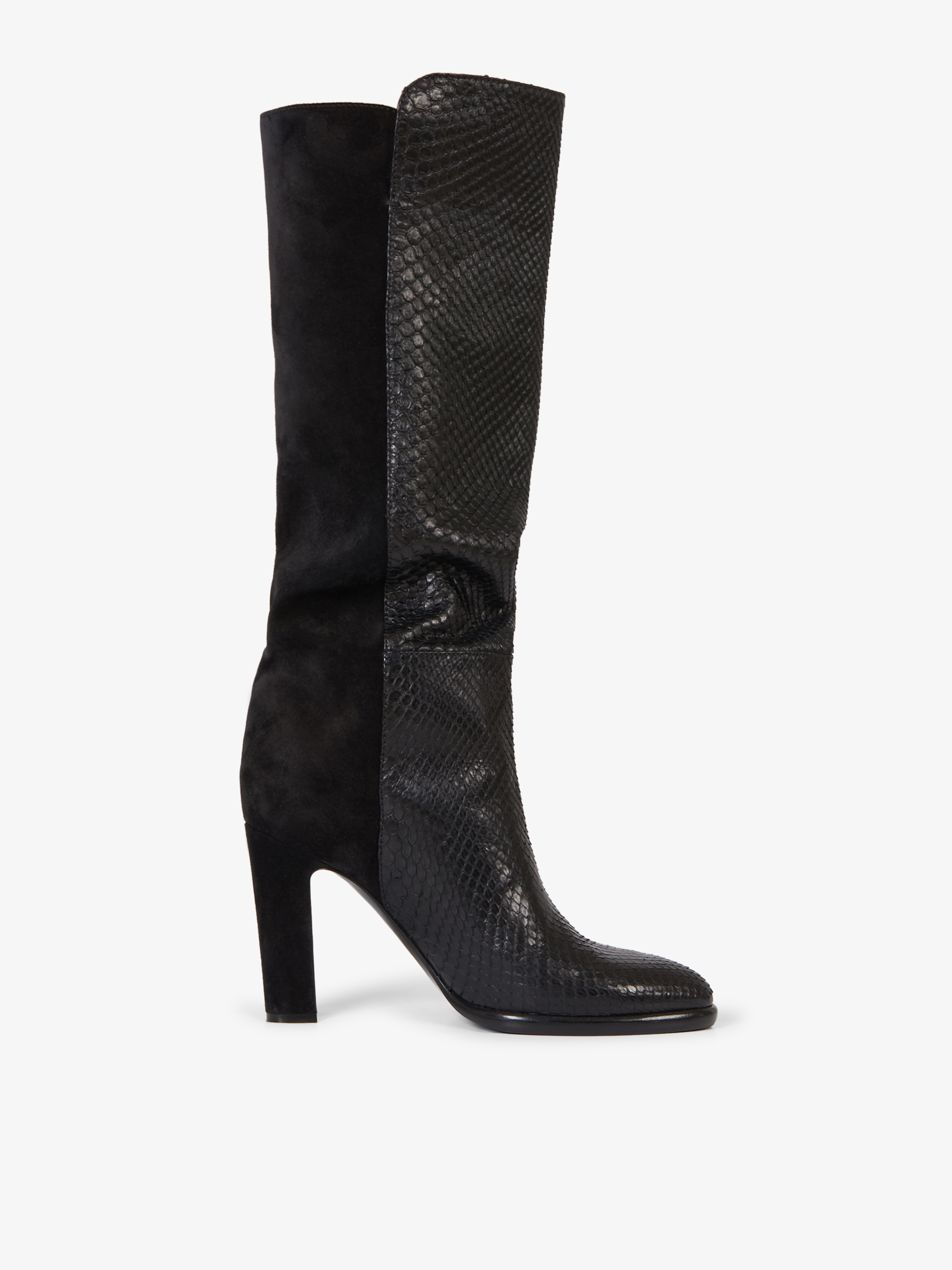 Mayfair boots in python skin and suede
