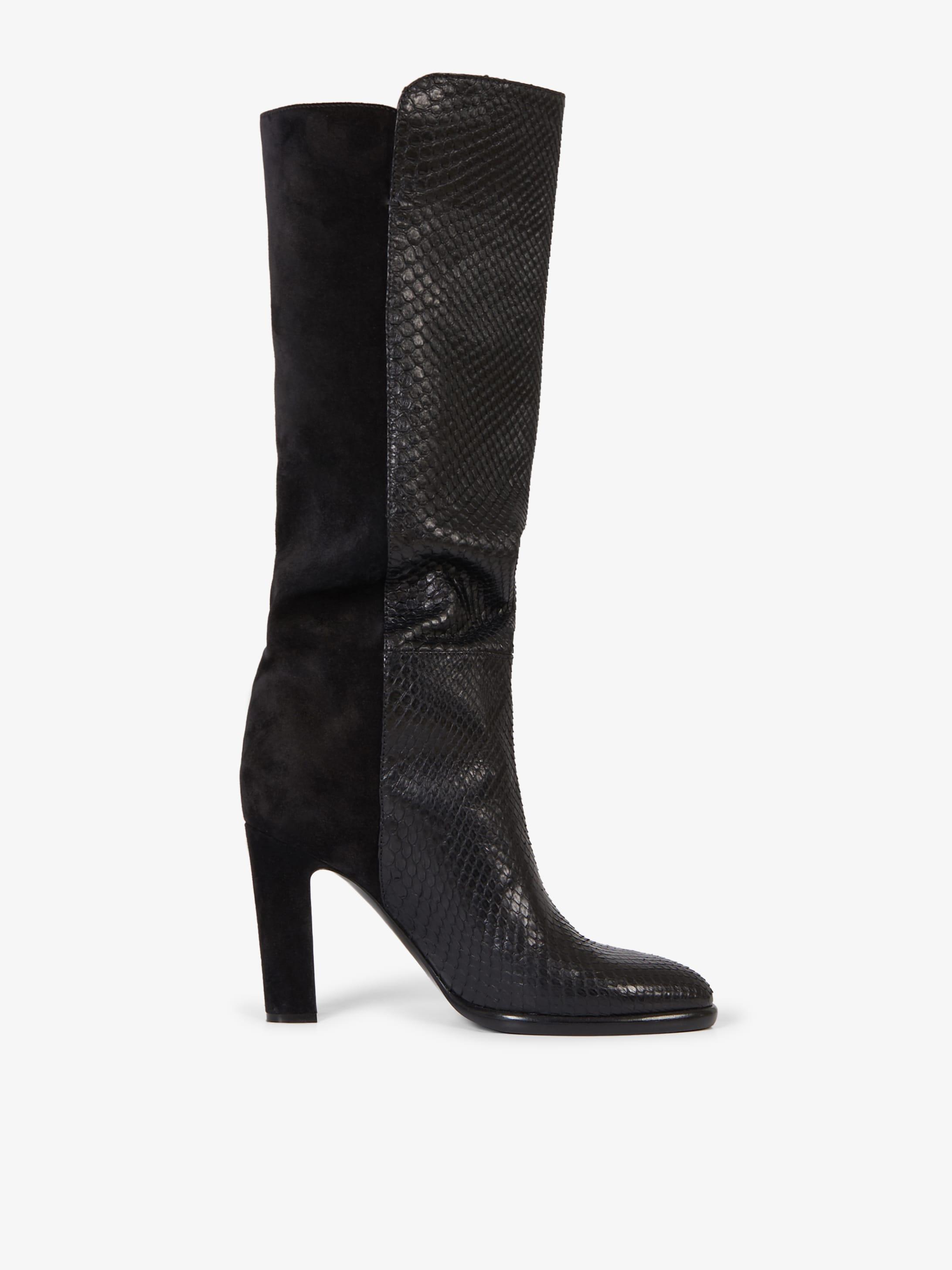 Stivali Mayfair di pelle scamosciata e pitone