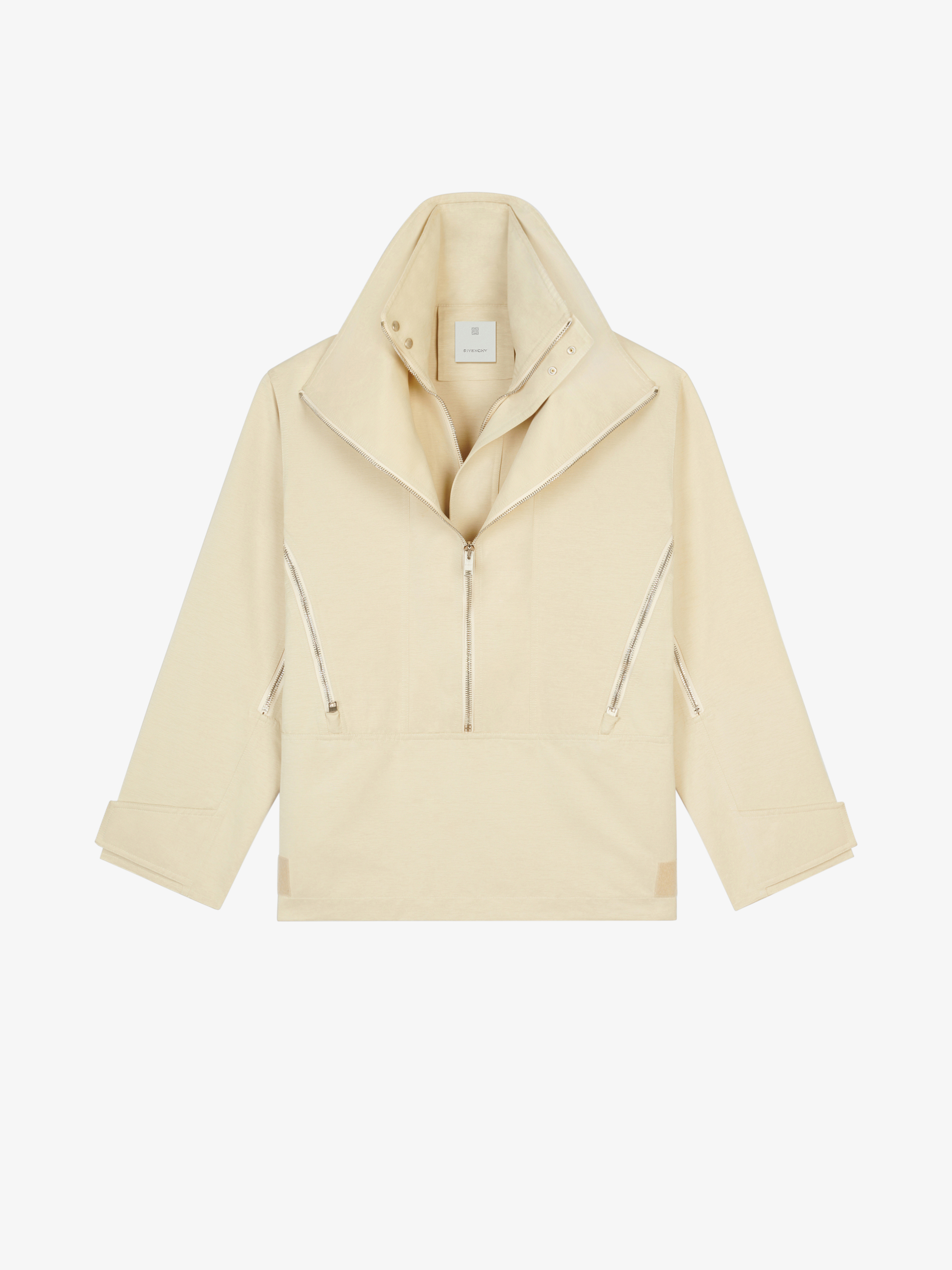 Pullover giacca a vento in ottoman con zip