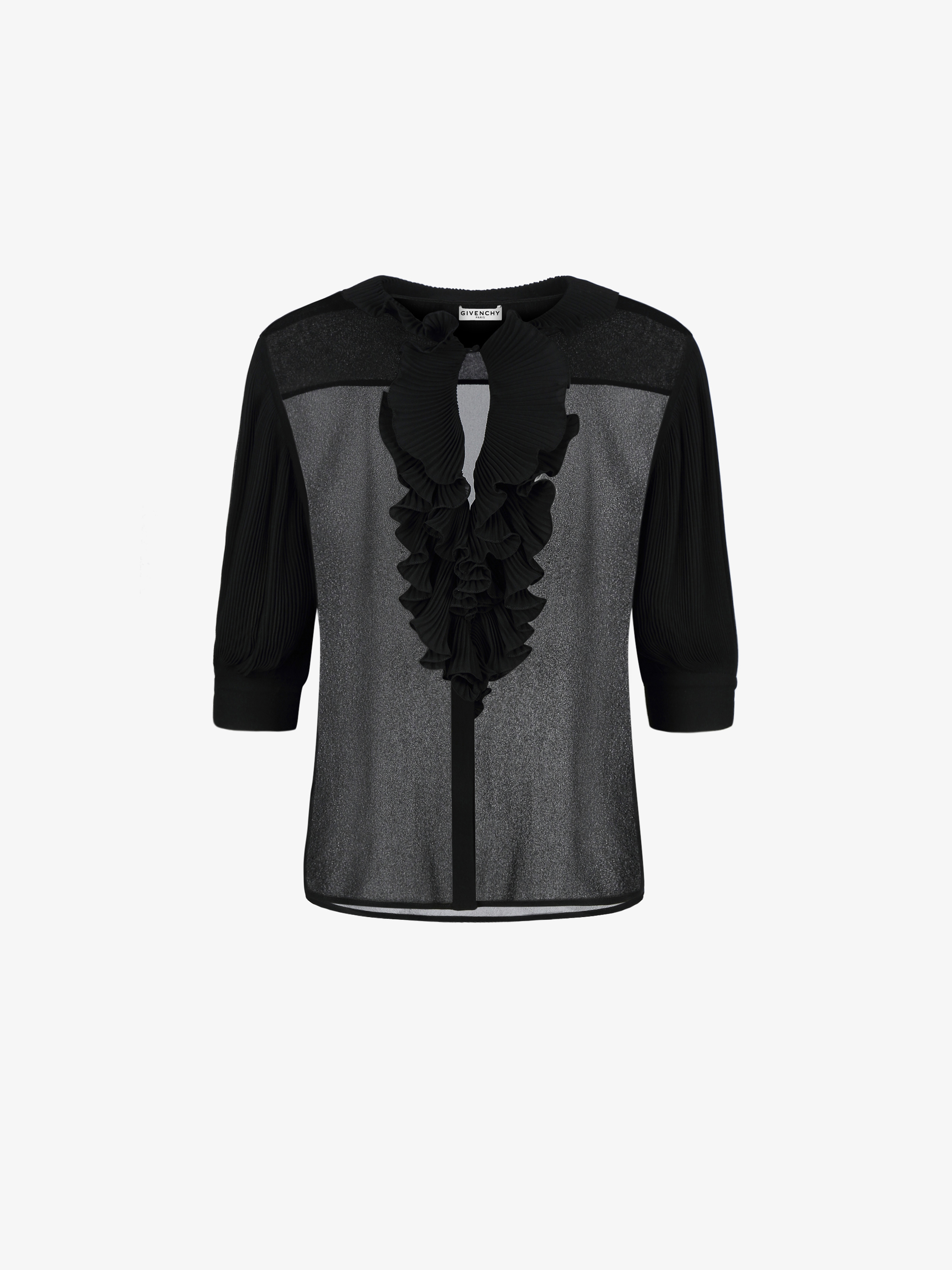 Blouse with pleated ruffles in silk