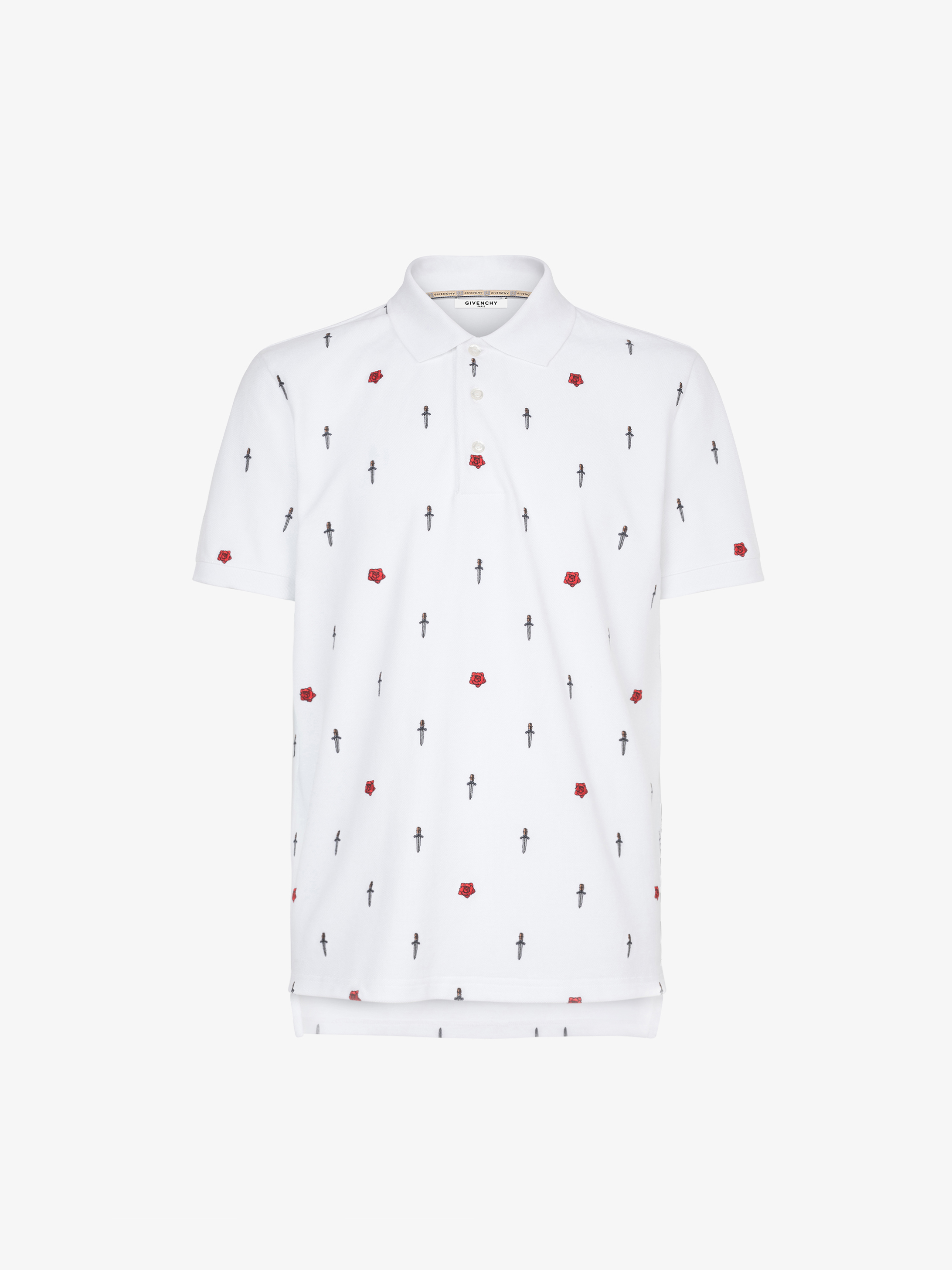 Dagger and roses embroidered polo shirt