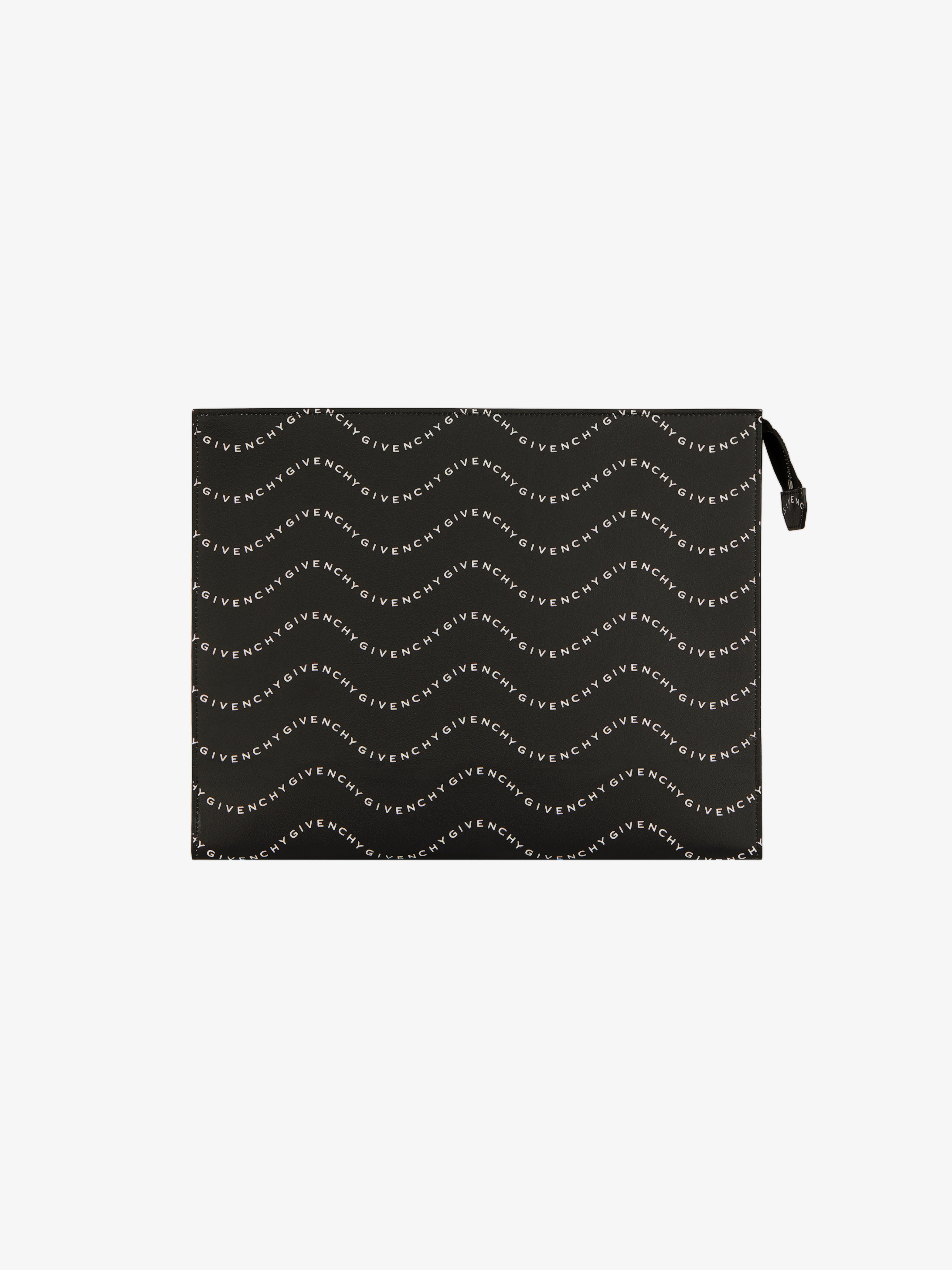 GIVENCHY waves printed gusset pouch in leather
