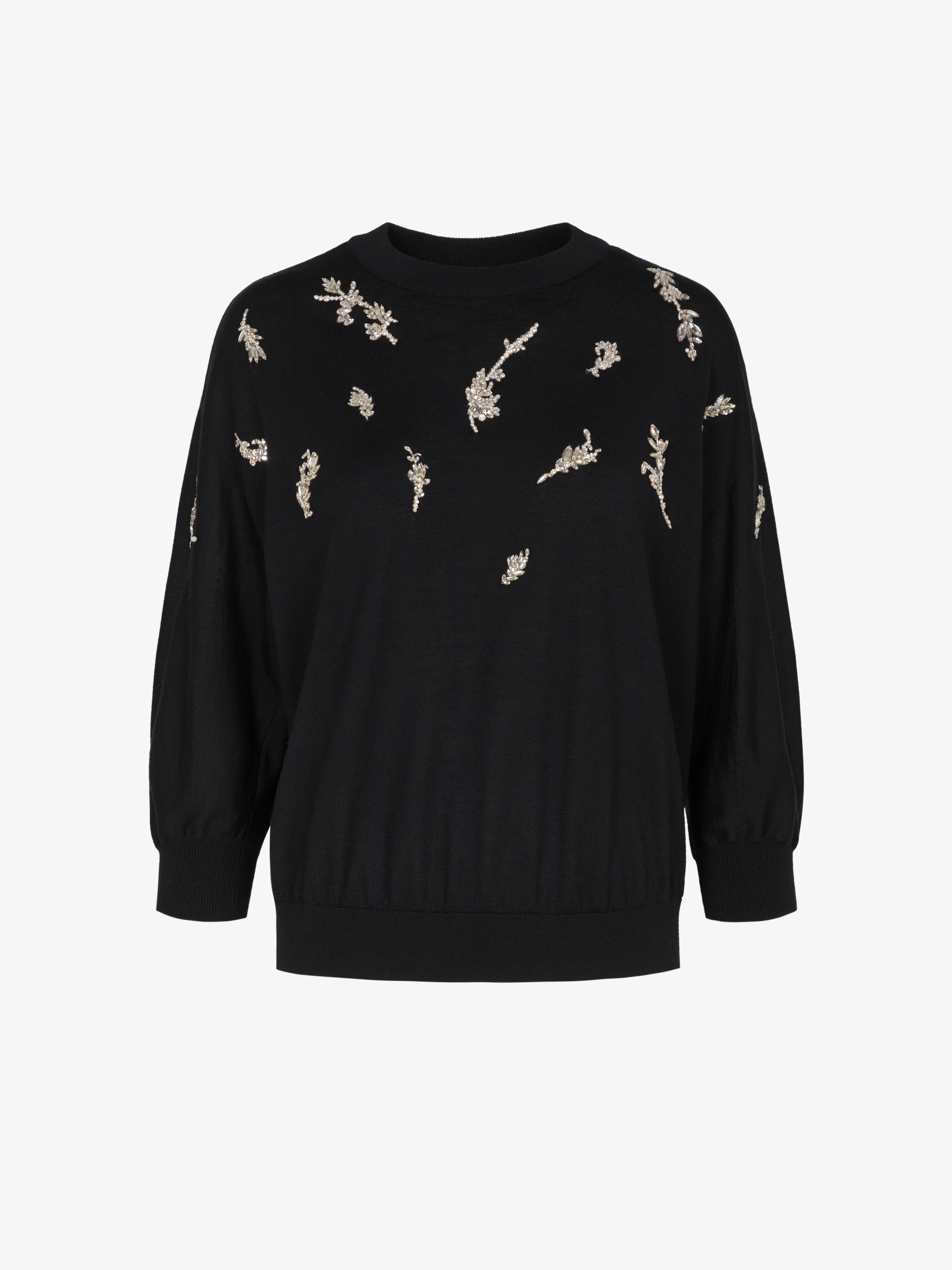 Sweater in  wool and silk with embroidered crystals