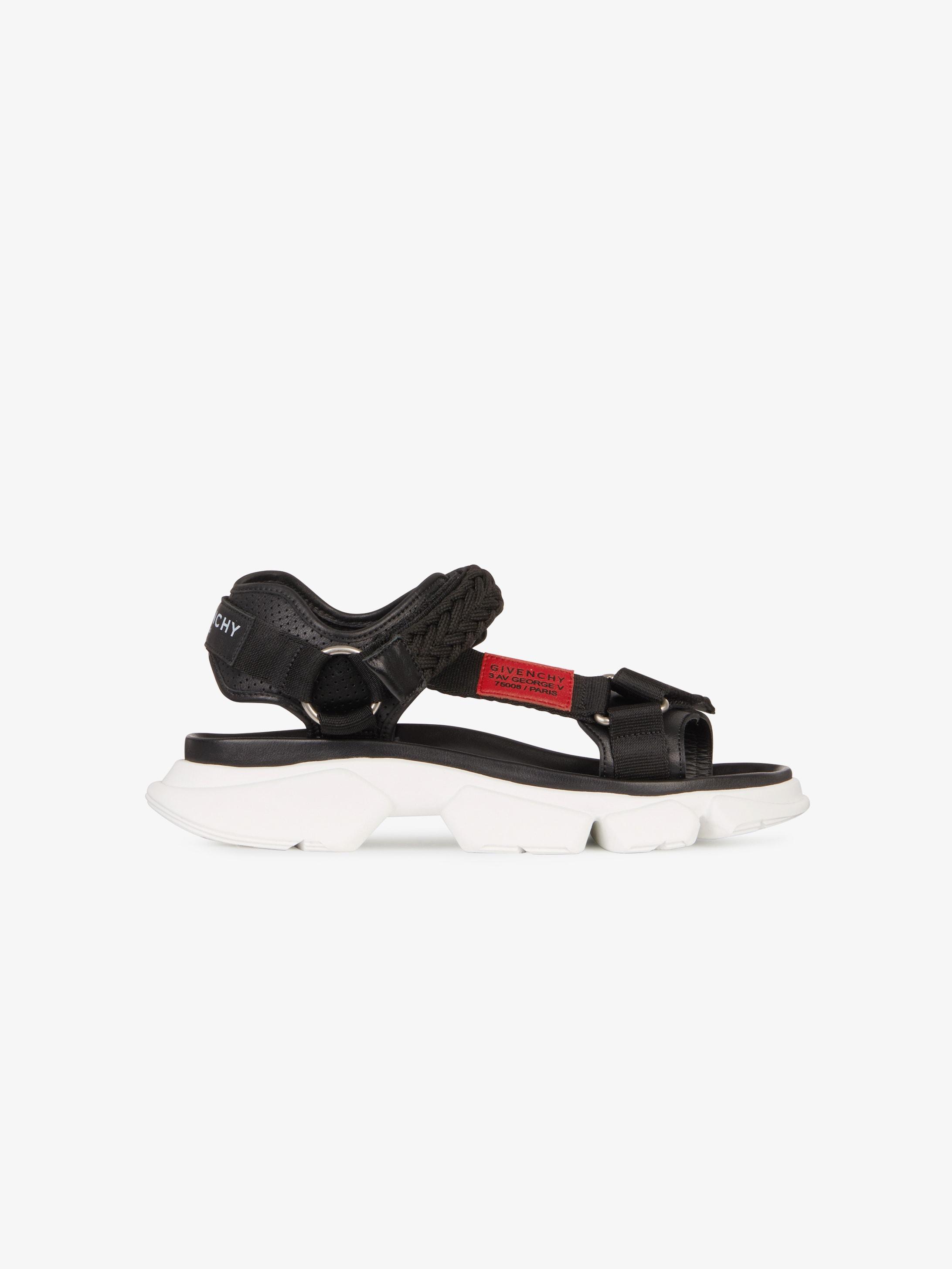 JAW皮革和尼龙凉鞋