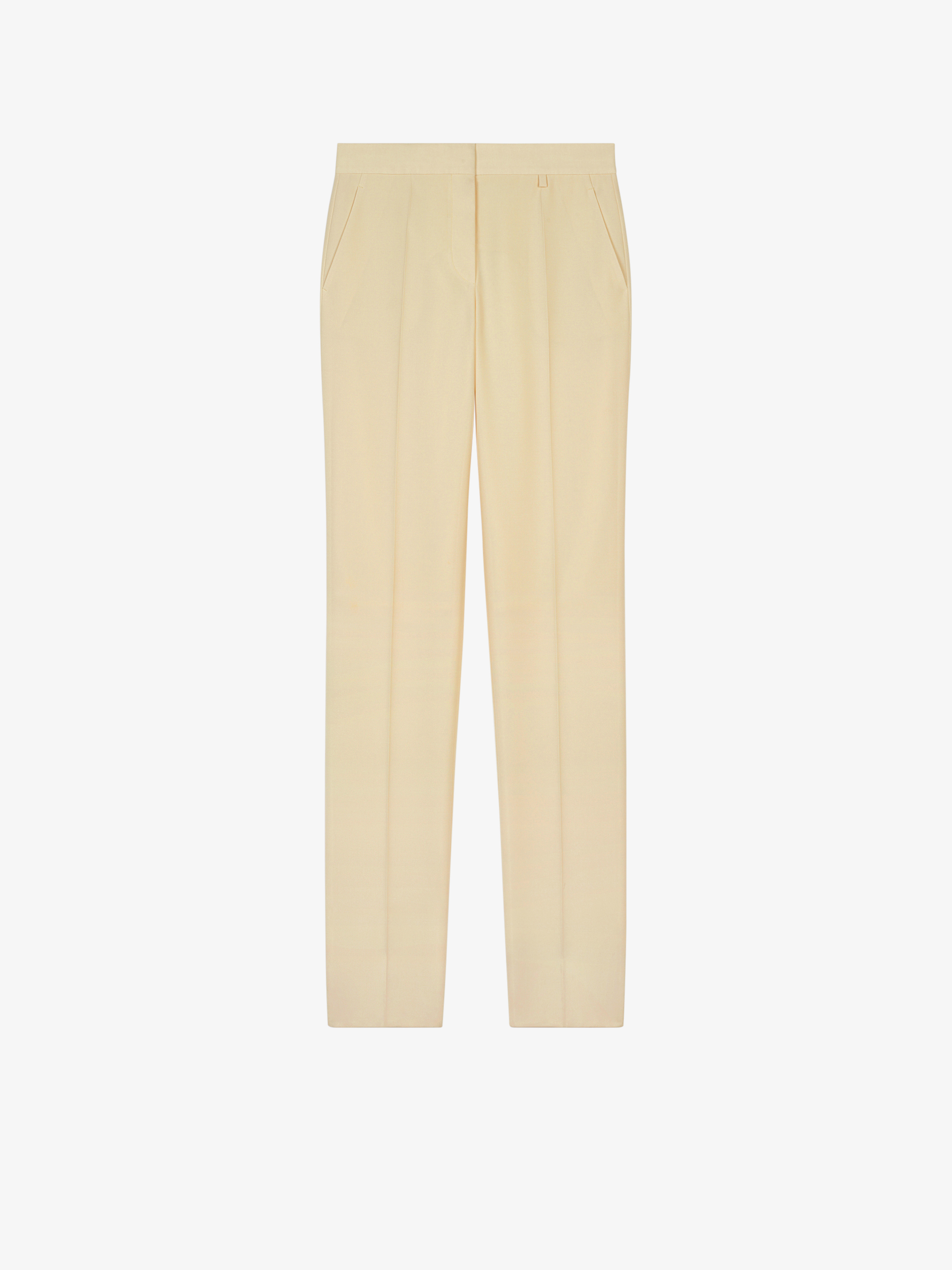 High waisted pants in cotton gabardine