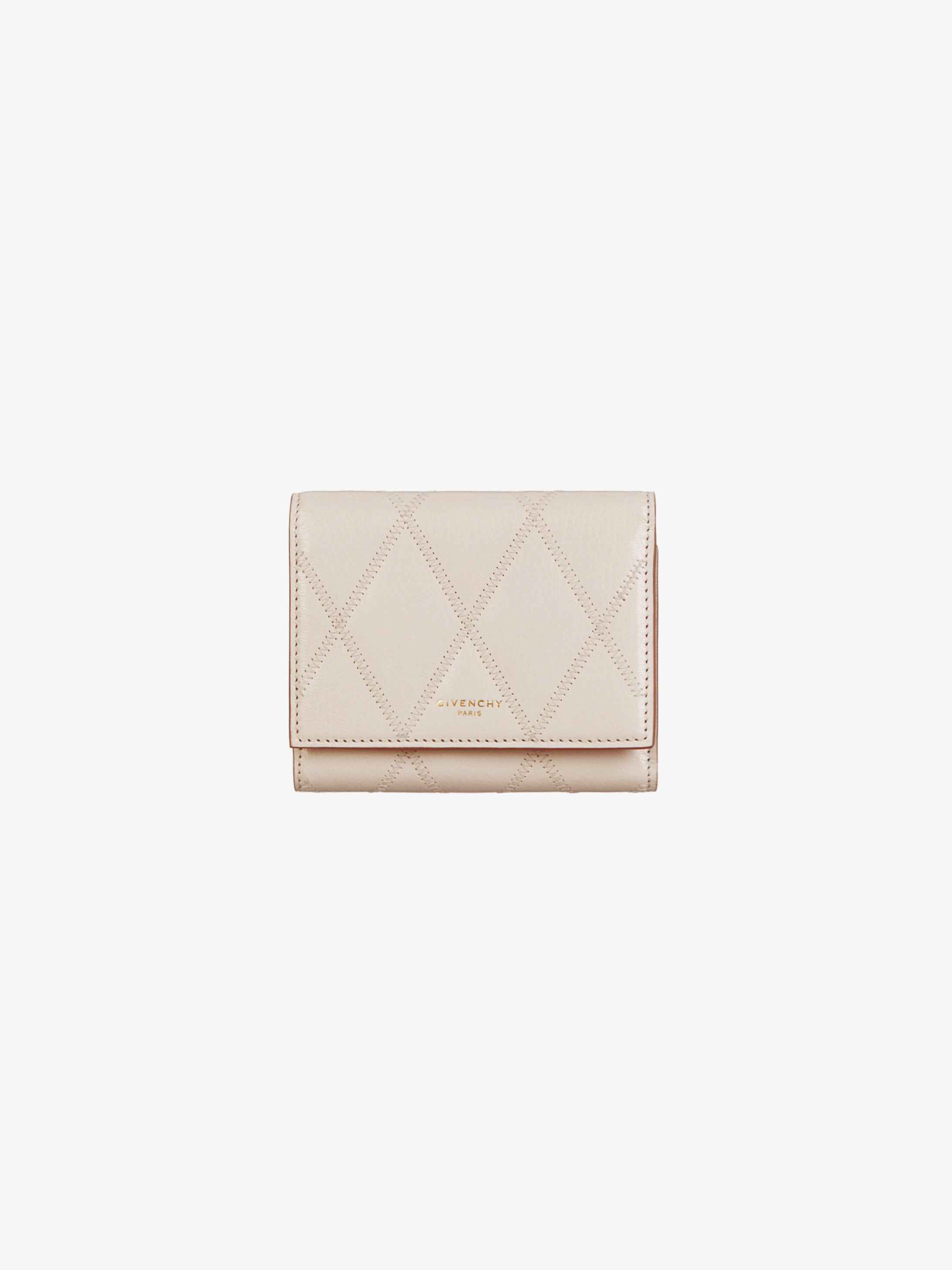 Tri-fold GV3 wallet in diamond quilted leather