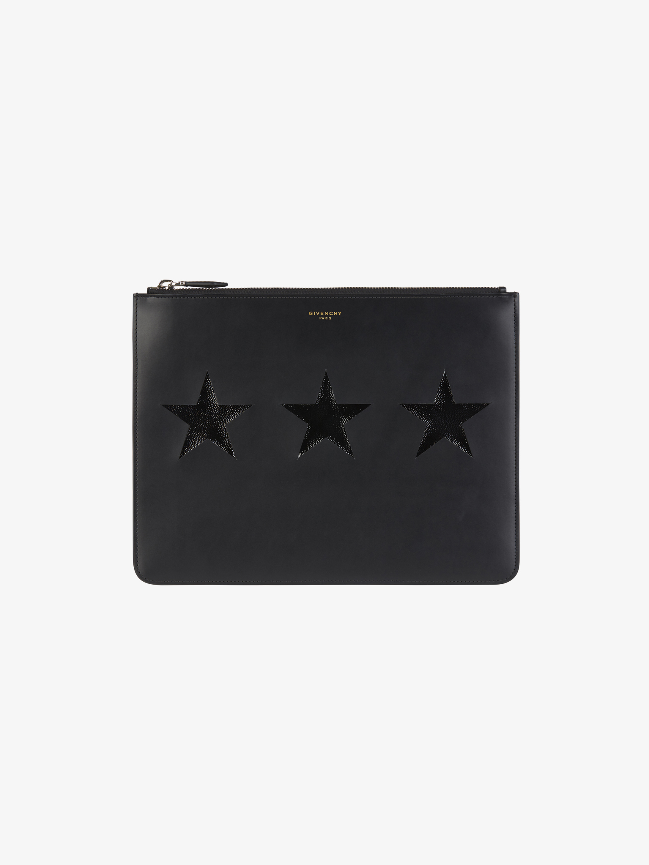Contrasting stars pouch in leather