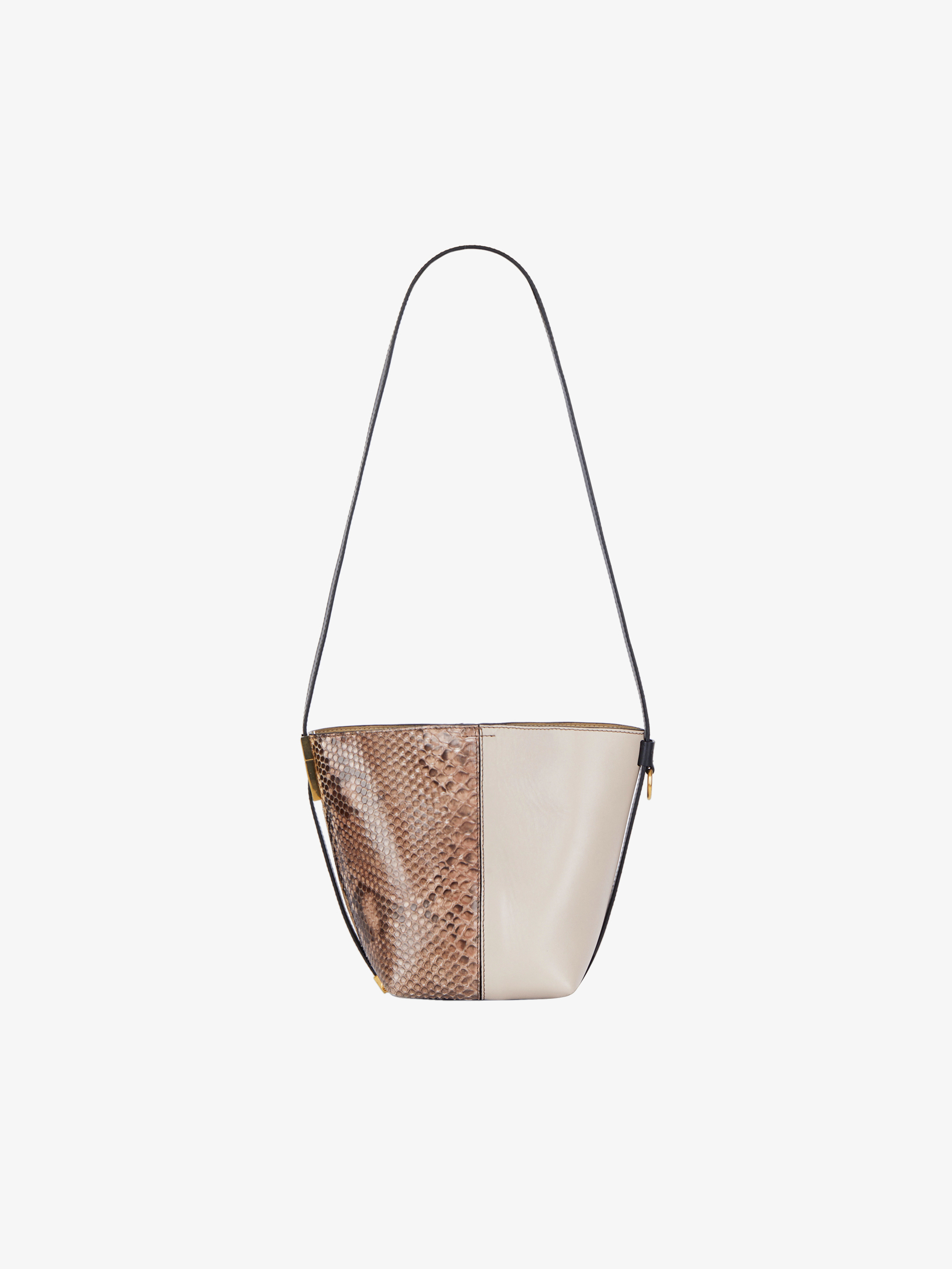 Mini GV Bucket bag in leather and python