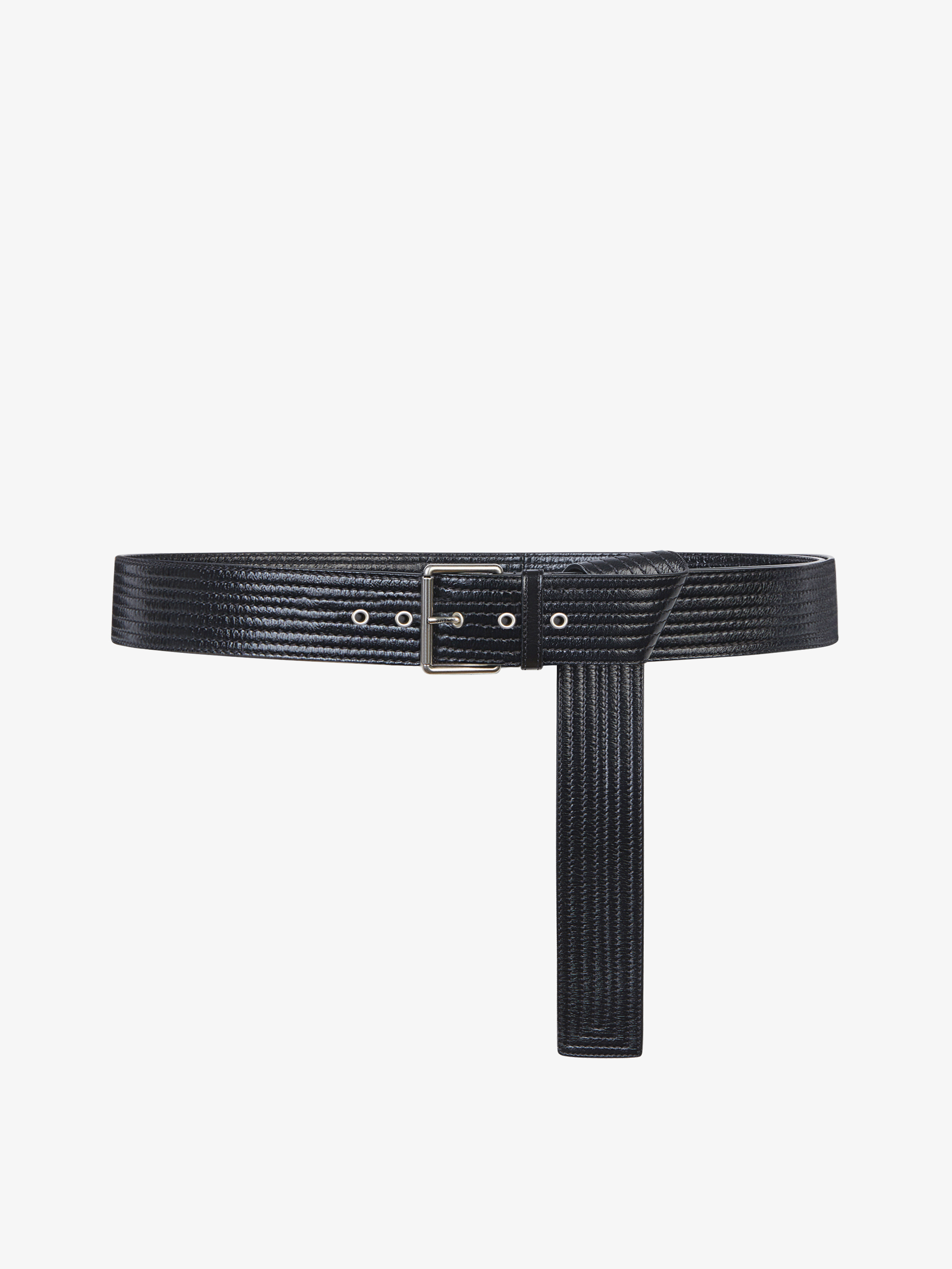 Long top stiched belt in leather