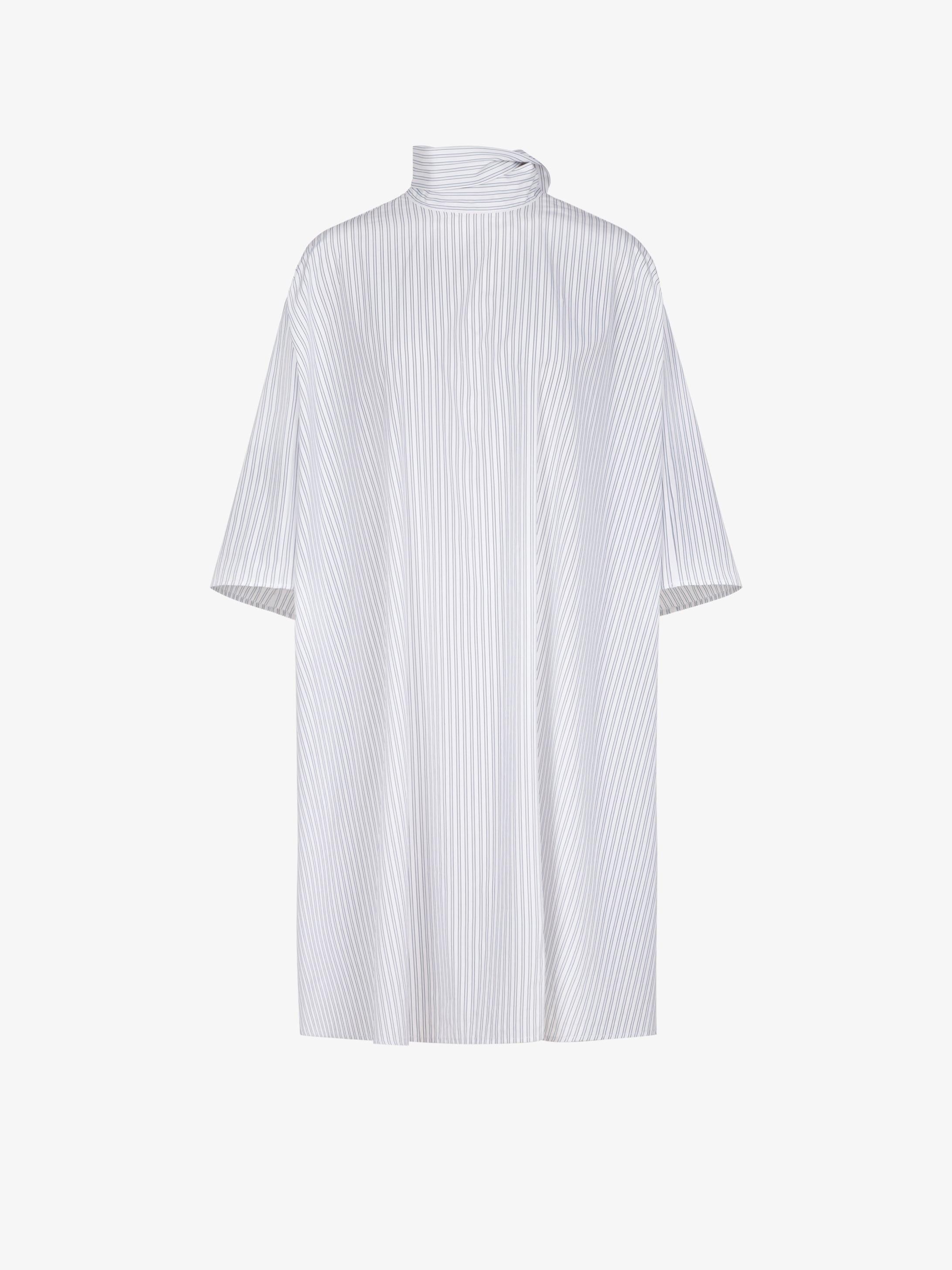 Oversized dress in striped popeline