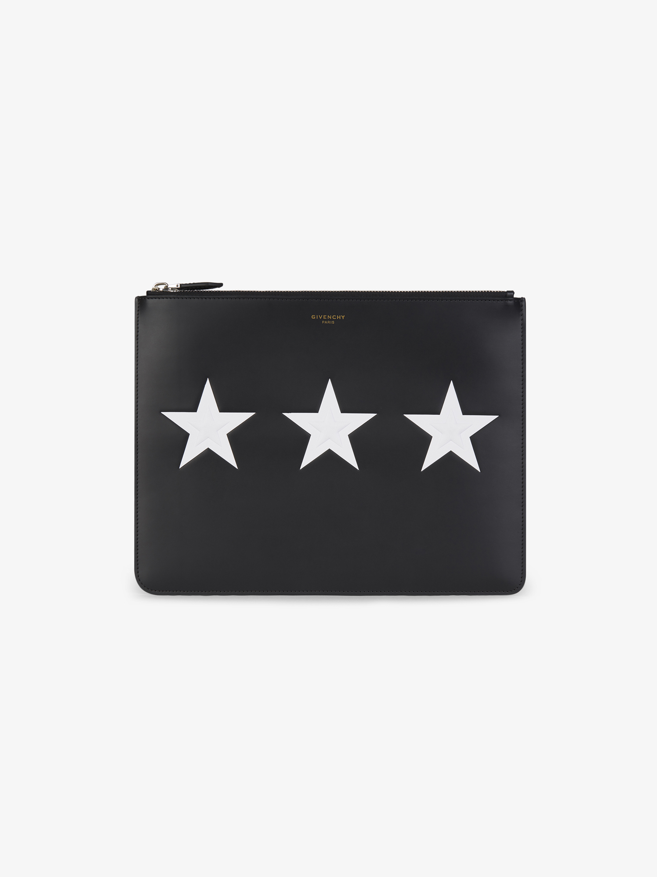Large contrasted stars leather pouch
