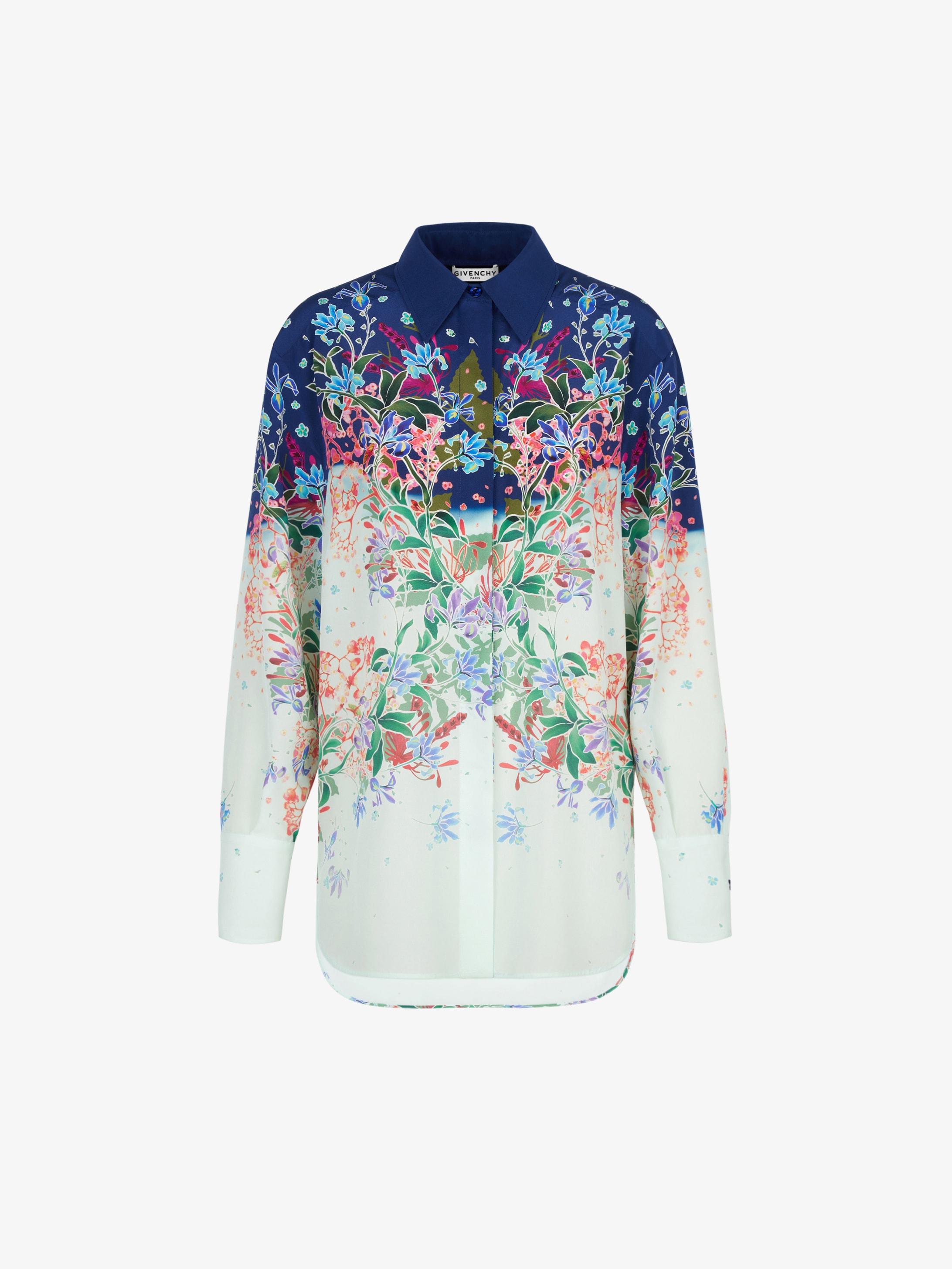 Floral printed shirt in silk