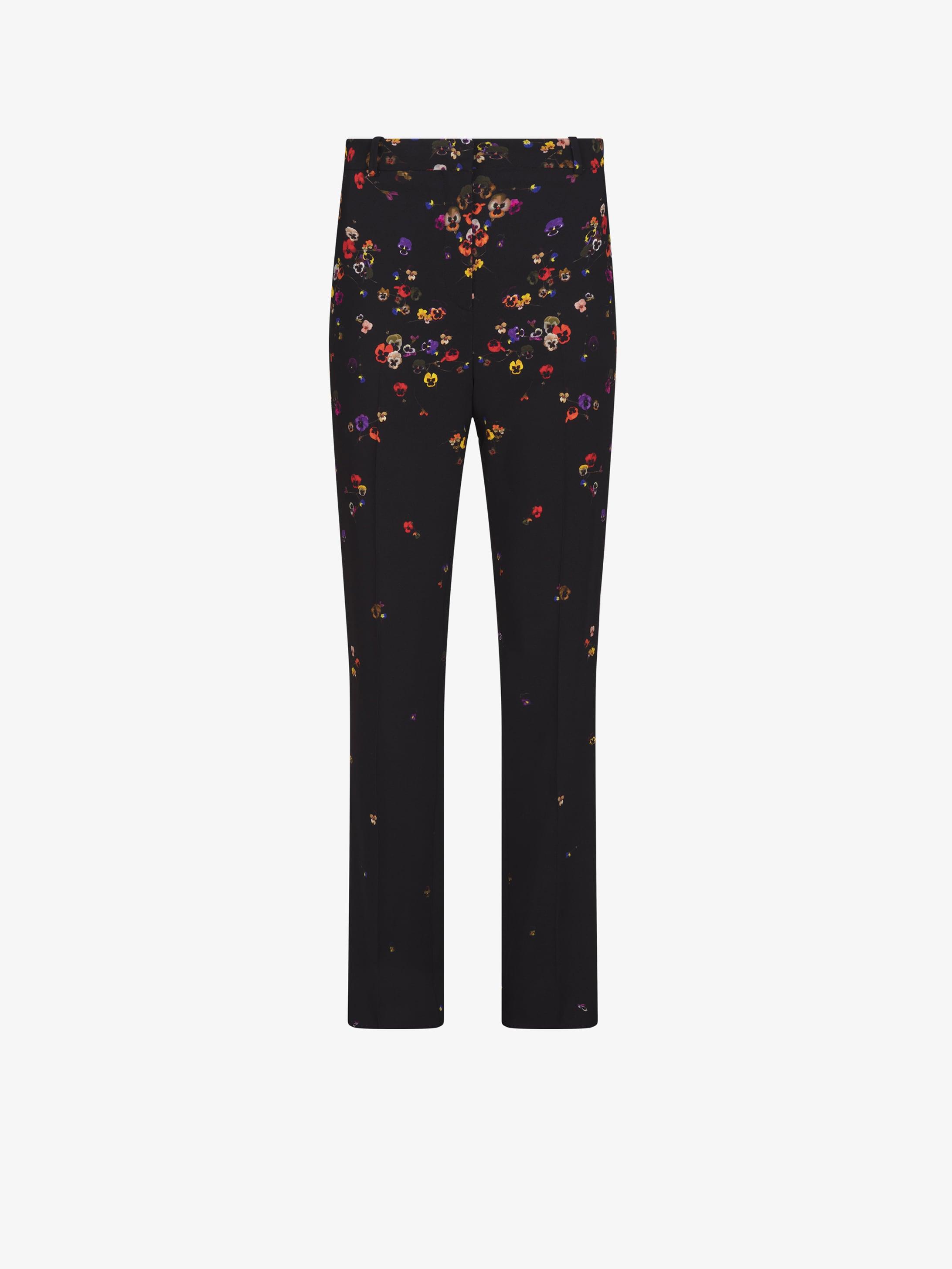 Pantaloni slim con stampa fiori
