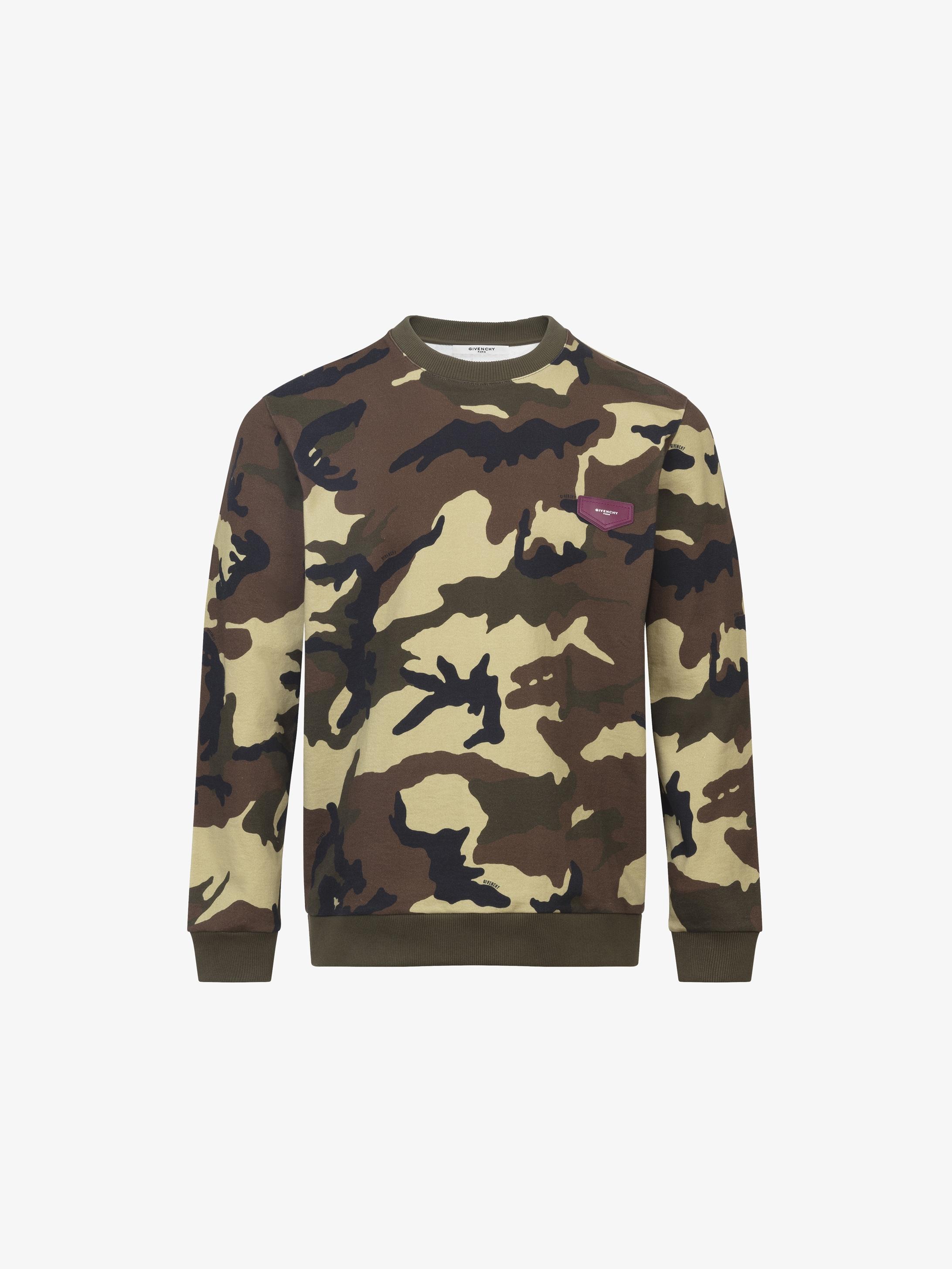 Camo printed sweatshirt in felpa