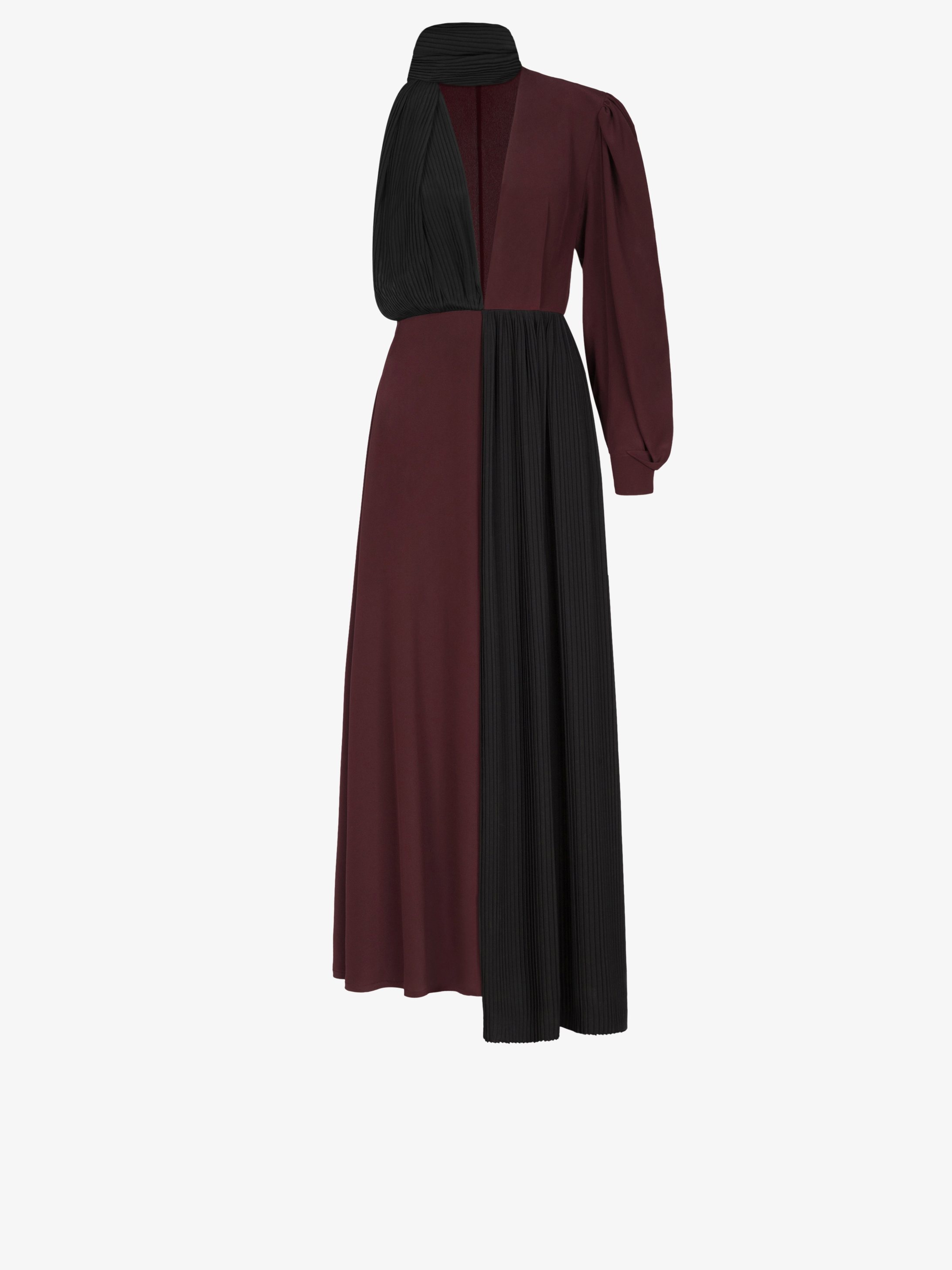 Two ton asymetrical dress with ascot tie