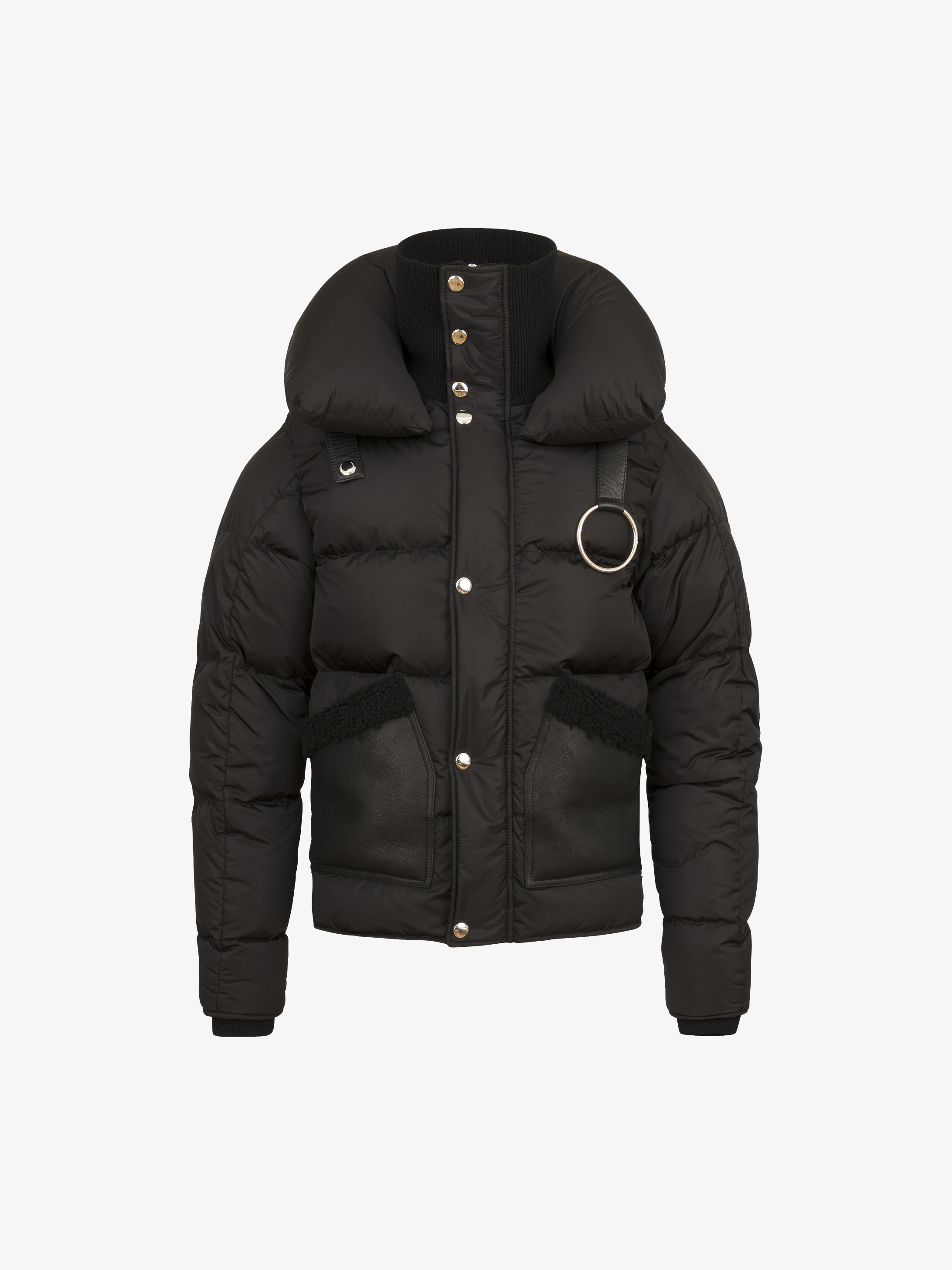 Puffa jacket with leather pockets