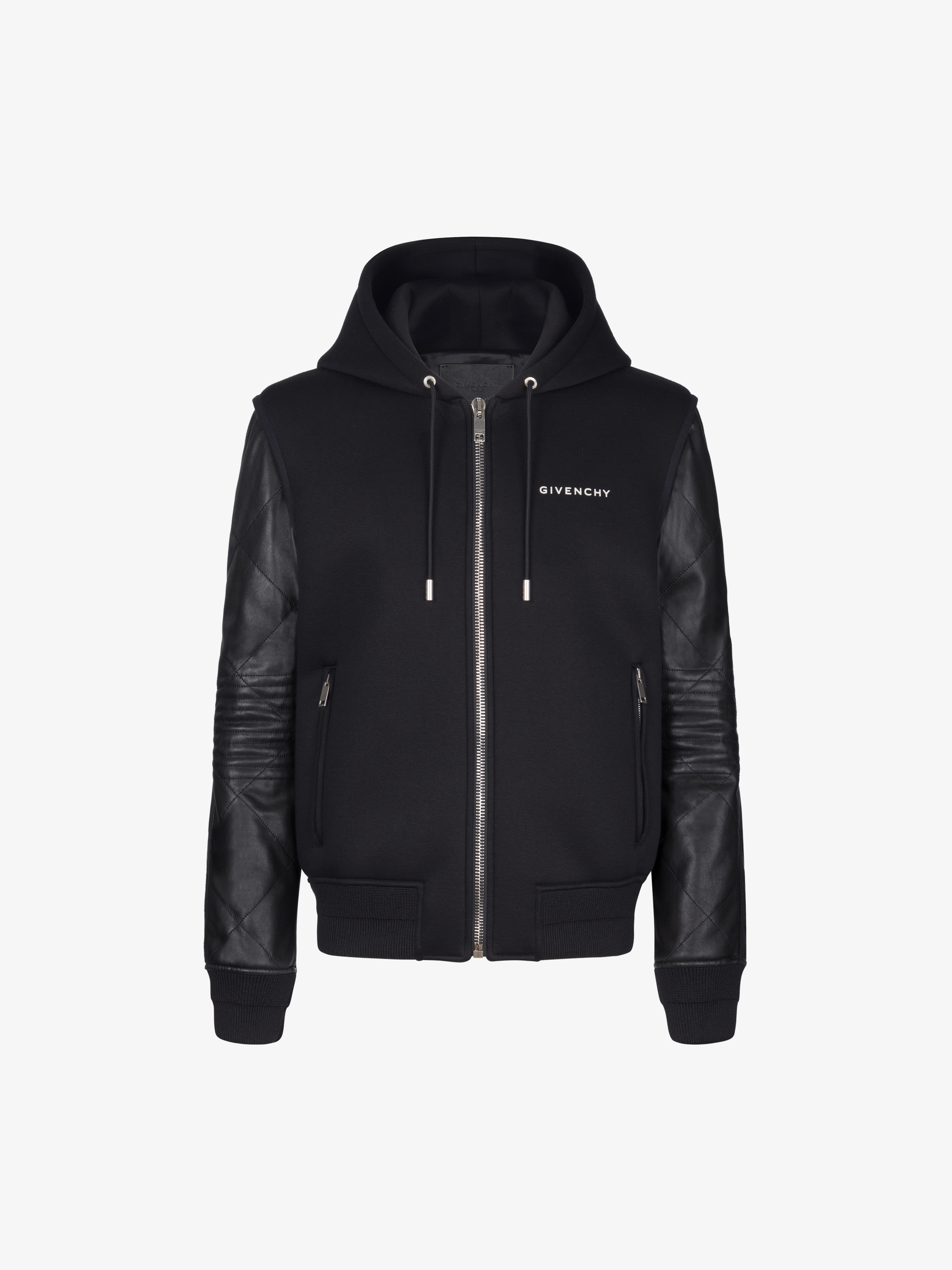 Hooded jacket in neoprene and leather
