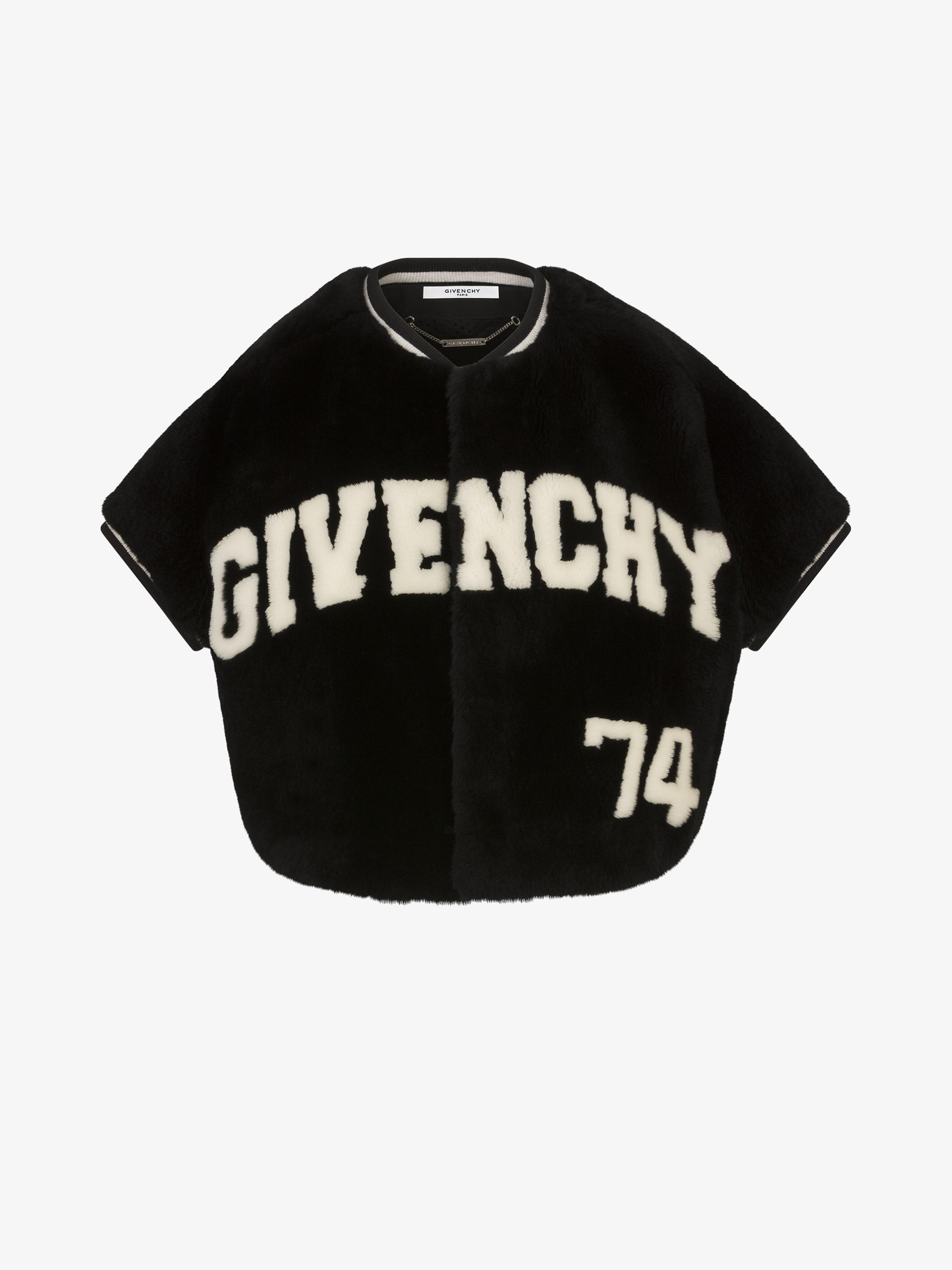 GIVENCHY 和 数字74印花海狸毛皮短款夹克