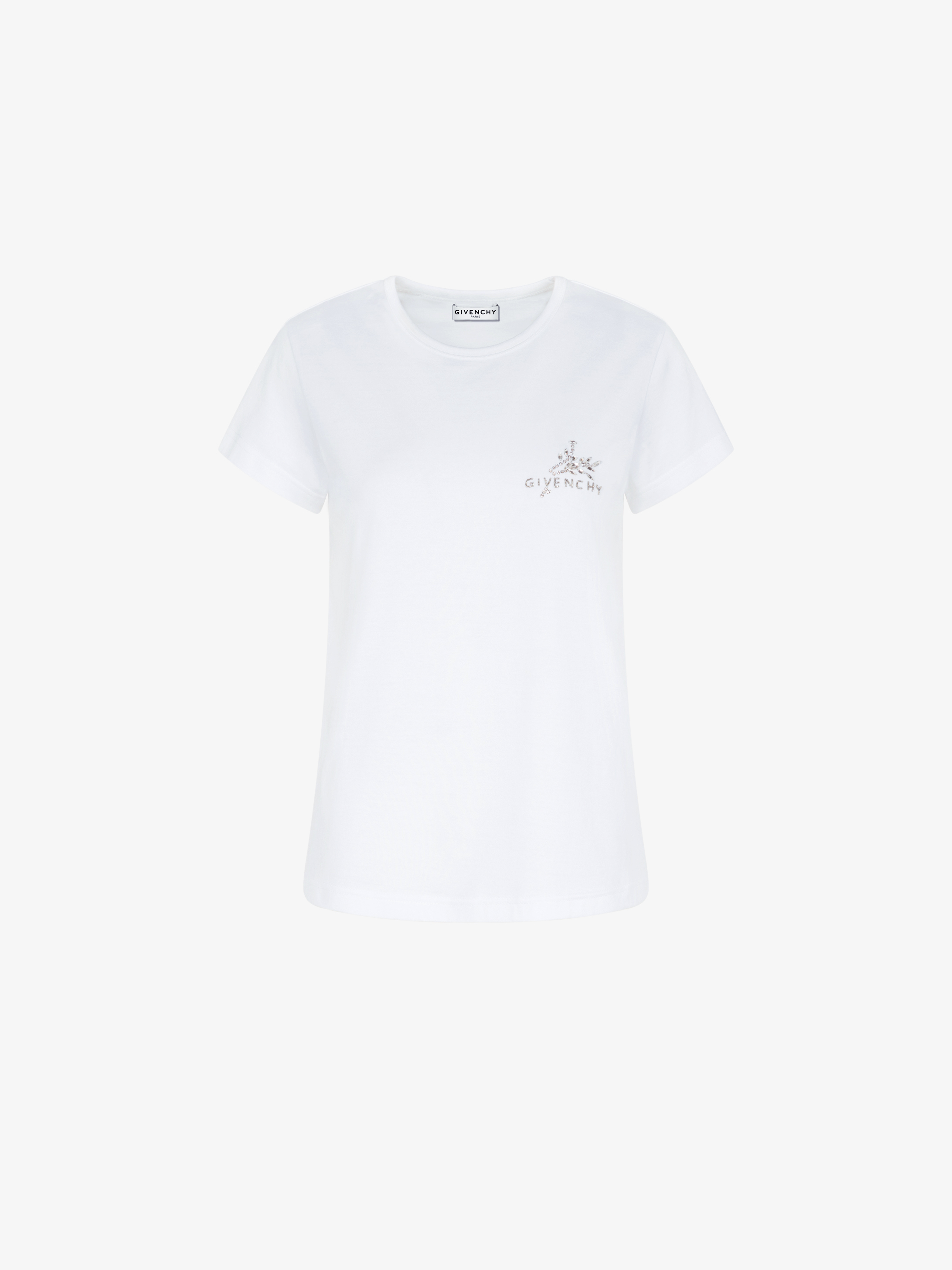GIVENCHY slim fit crystals embroidered t-shirt
