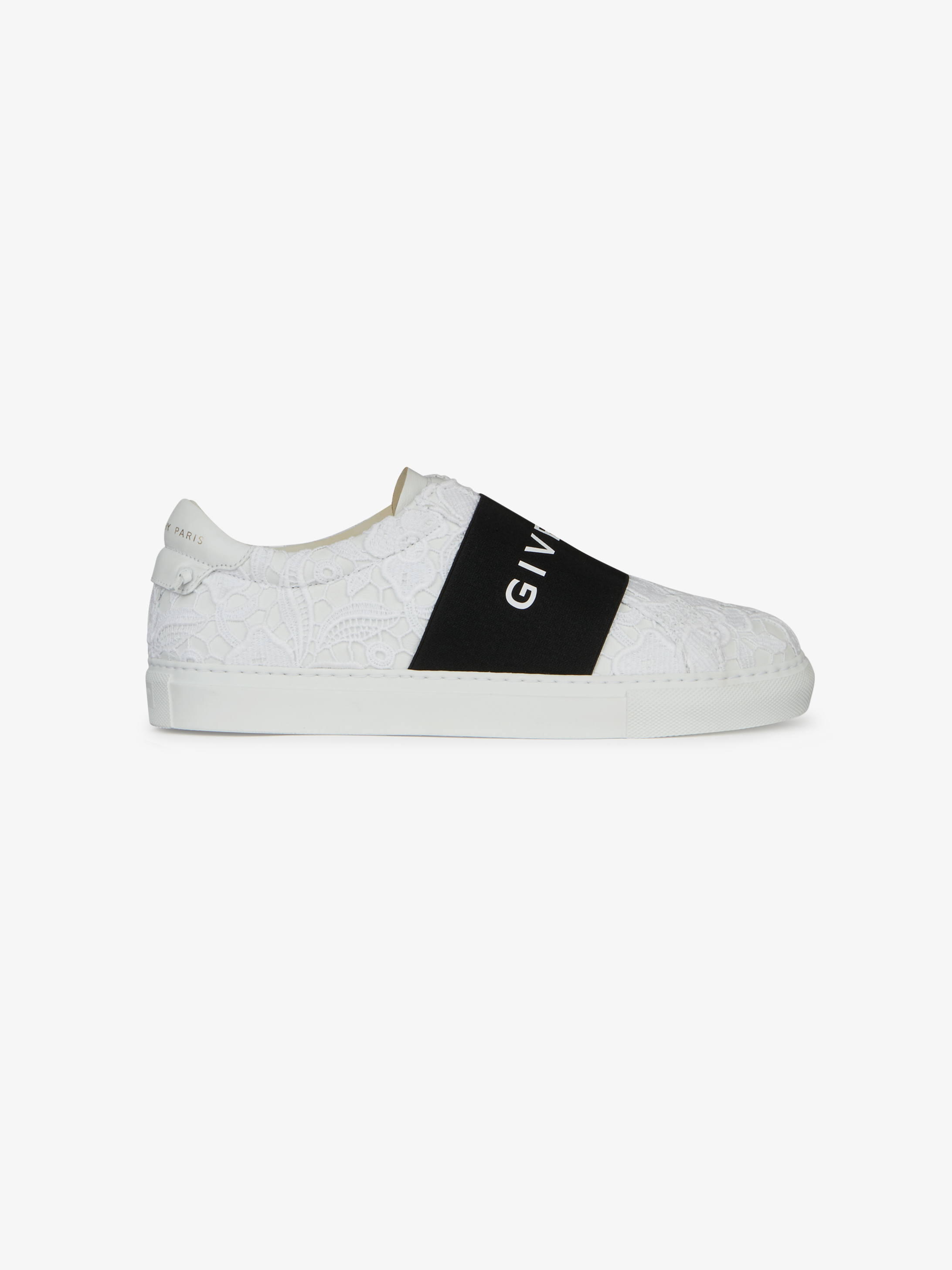 Sneaker di pelle con guipure ed elastico