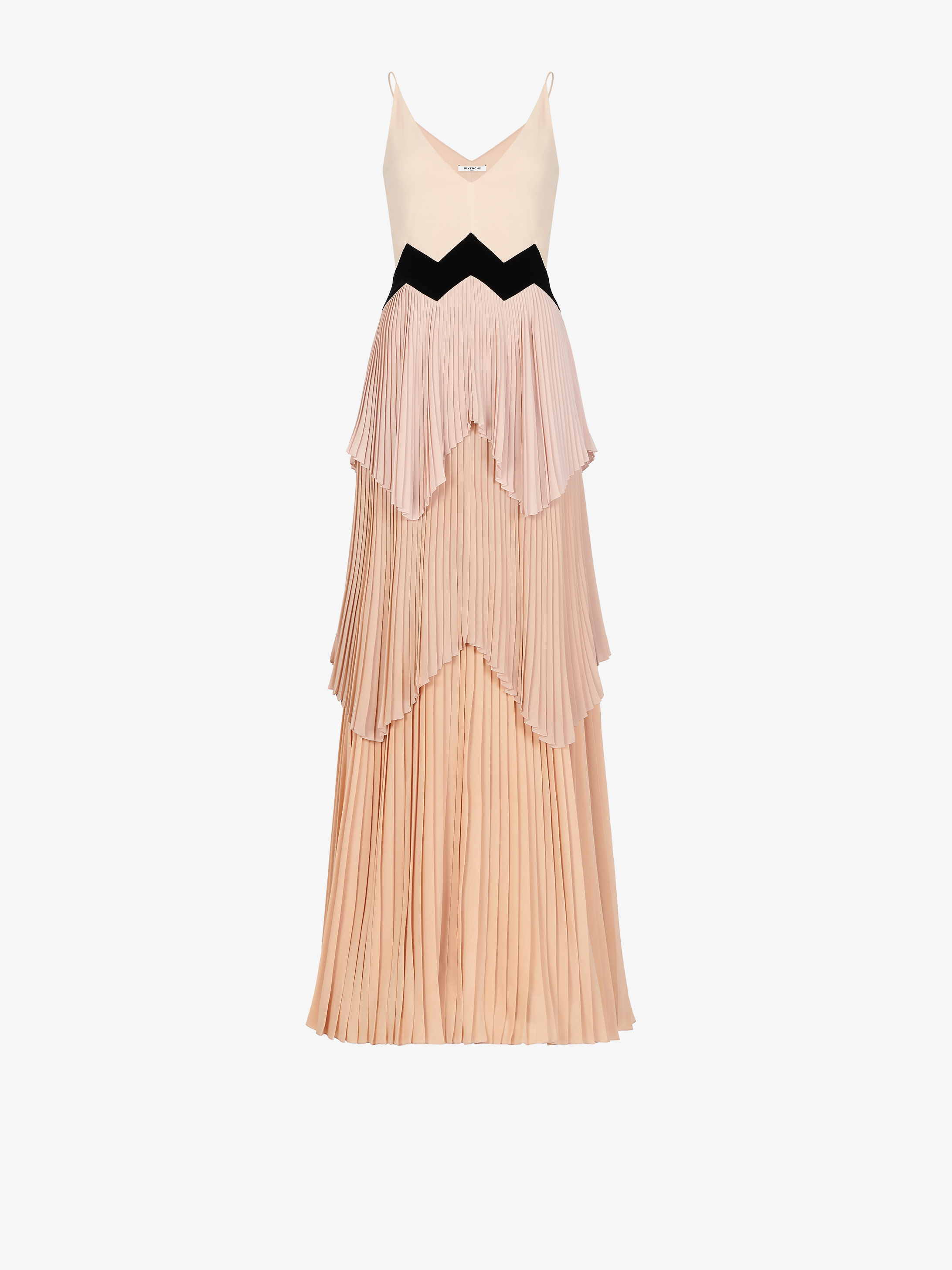 Long V neck dress with pleated layer skirt