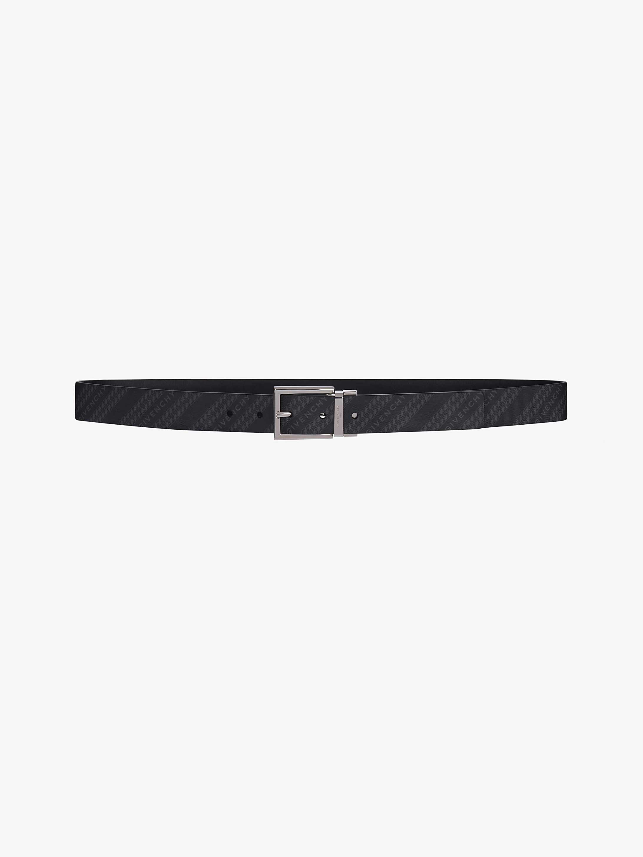 GIVENCHY Chain reversible belt in leather and coated canvas
