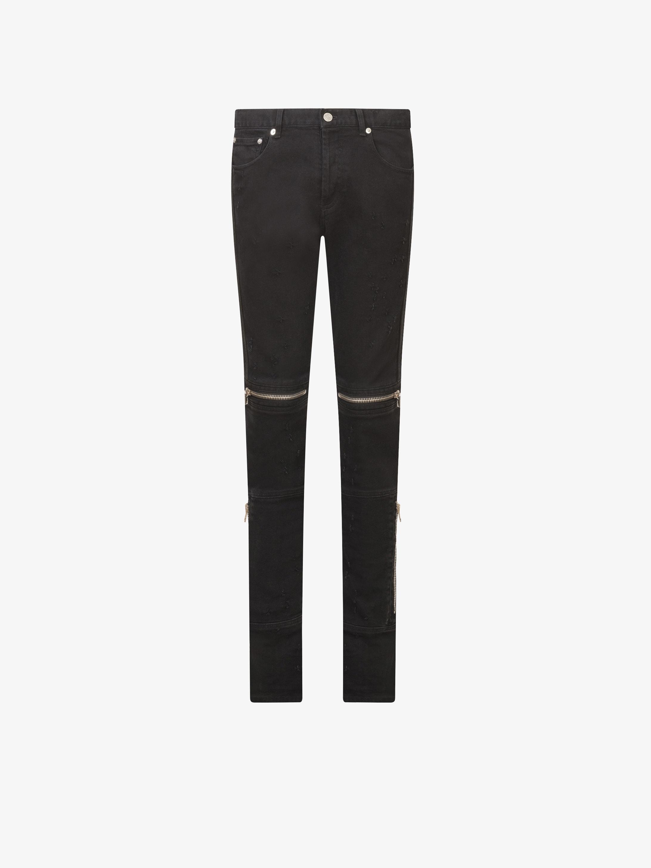 Jeans slim effet destroyed et zips