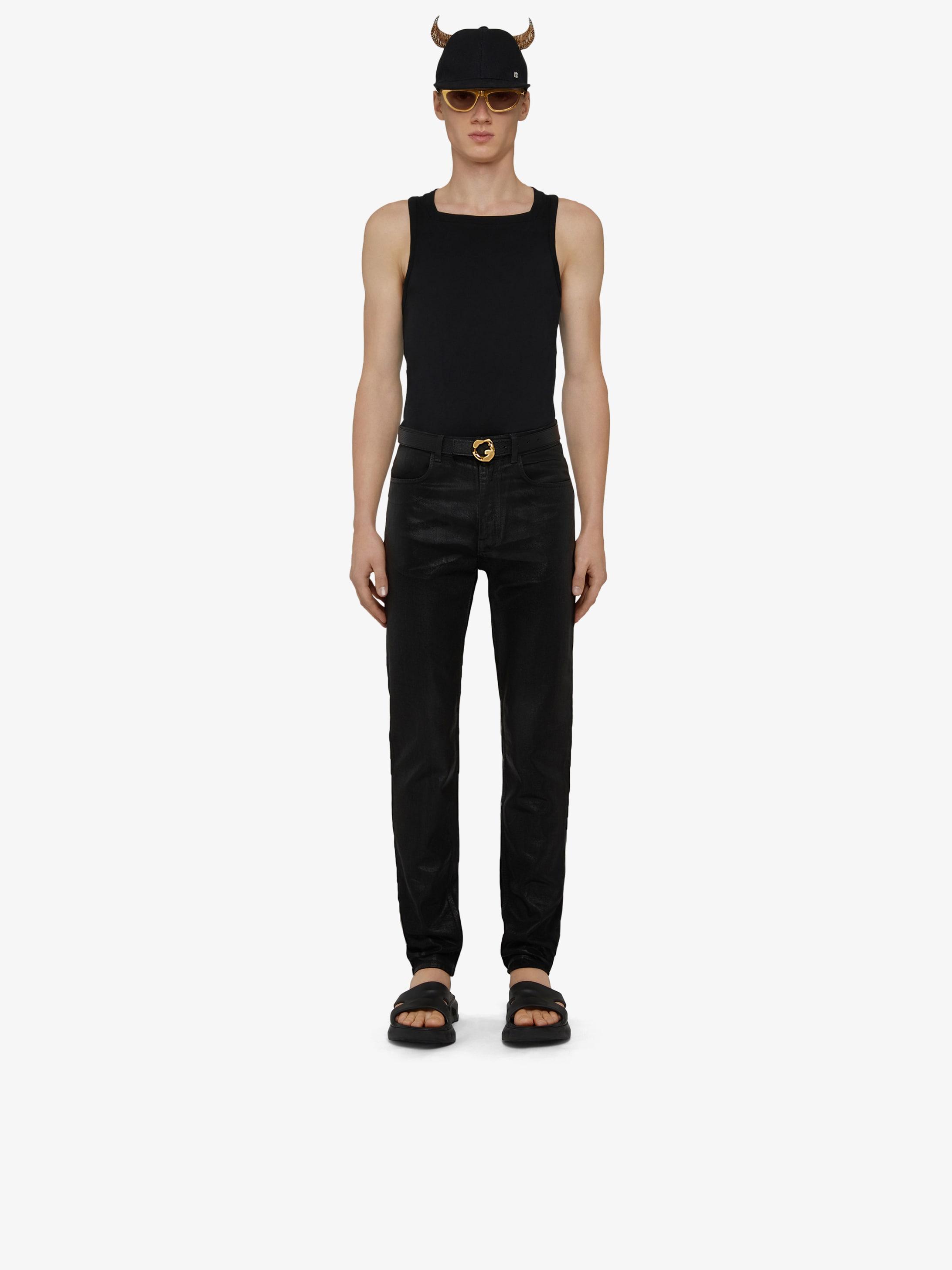 Slim fit jeans in shiny polished denim