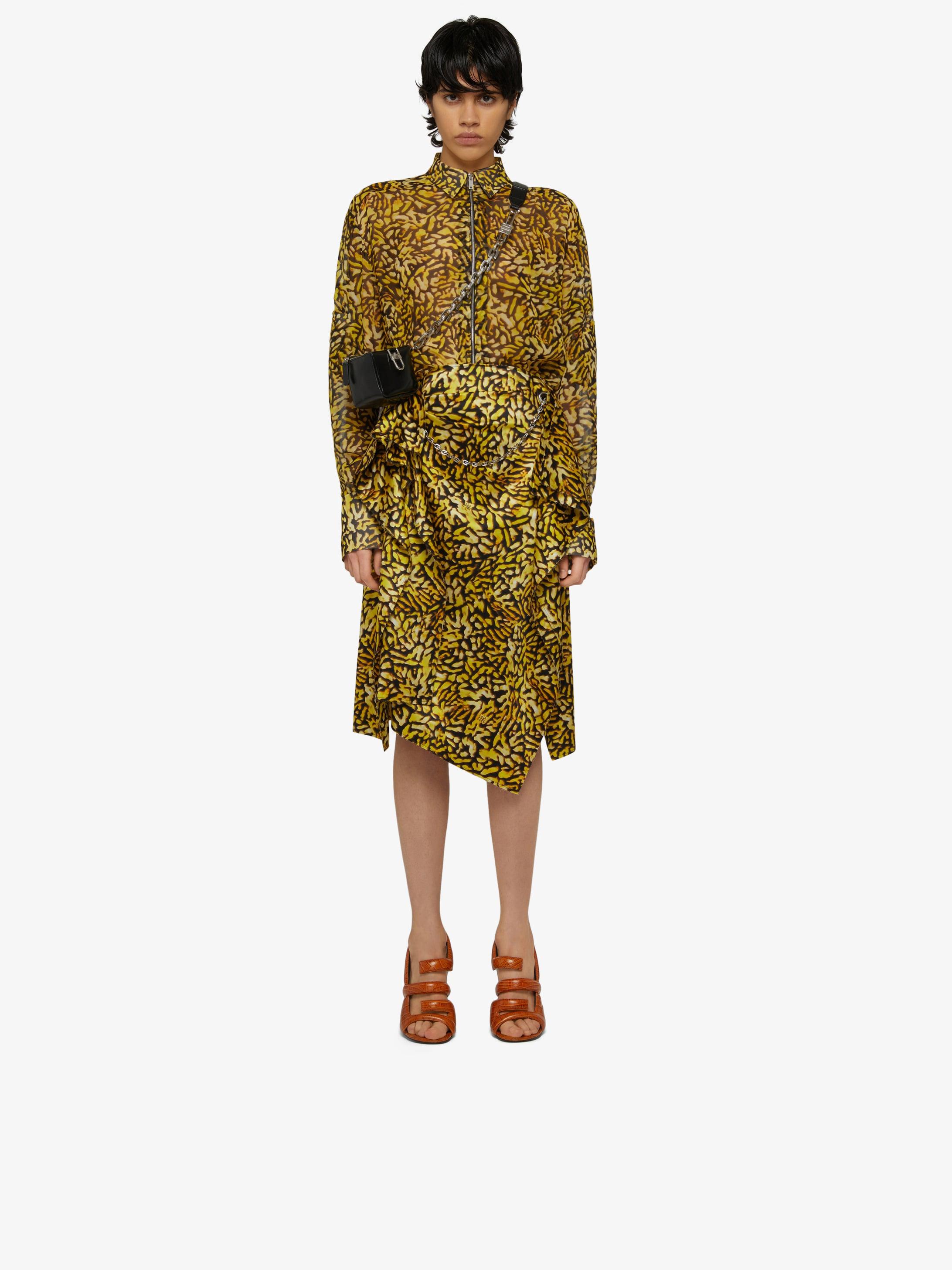 Asymmetrical printed skirt with metallic details