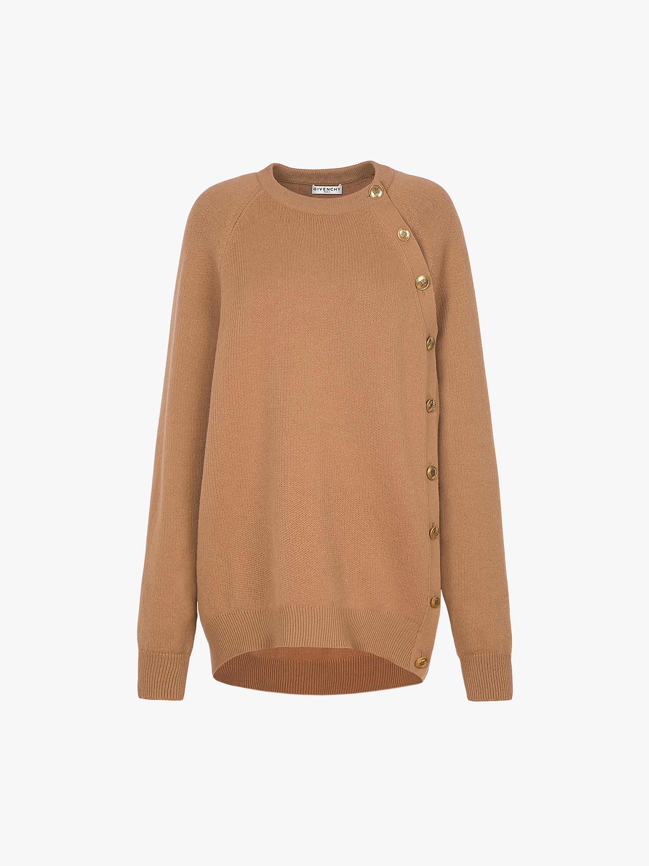 Pullover oversize in lana e cashmere con bottoni 4G