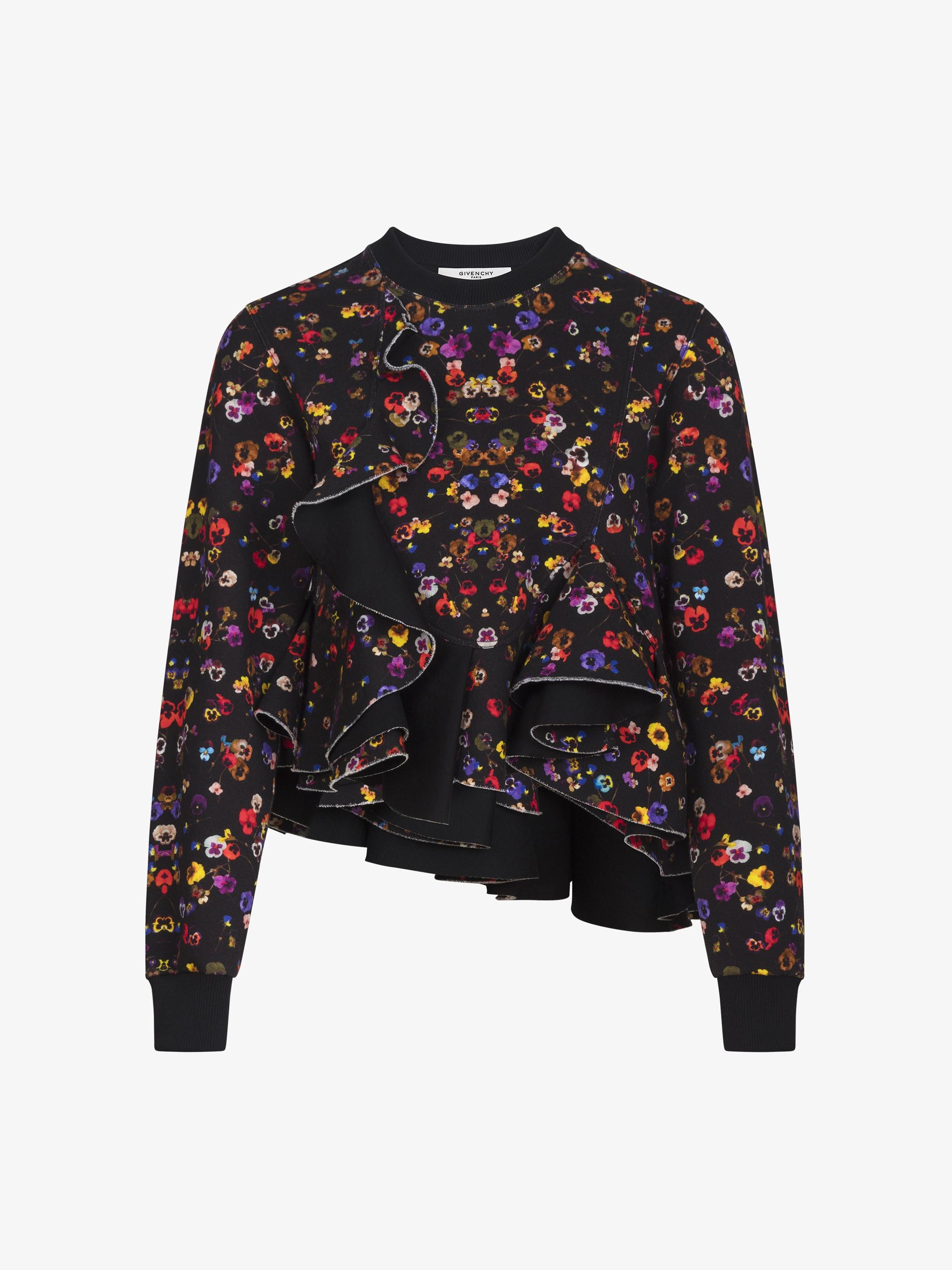 花卉印花褶饰运动衫