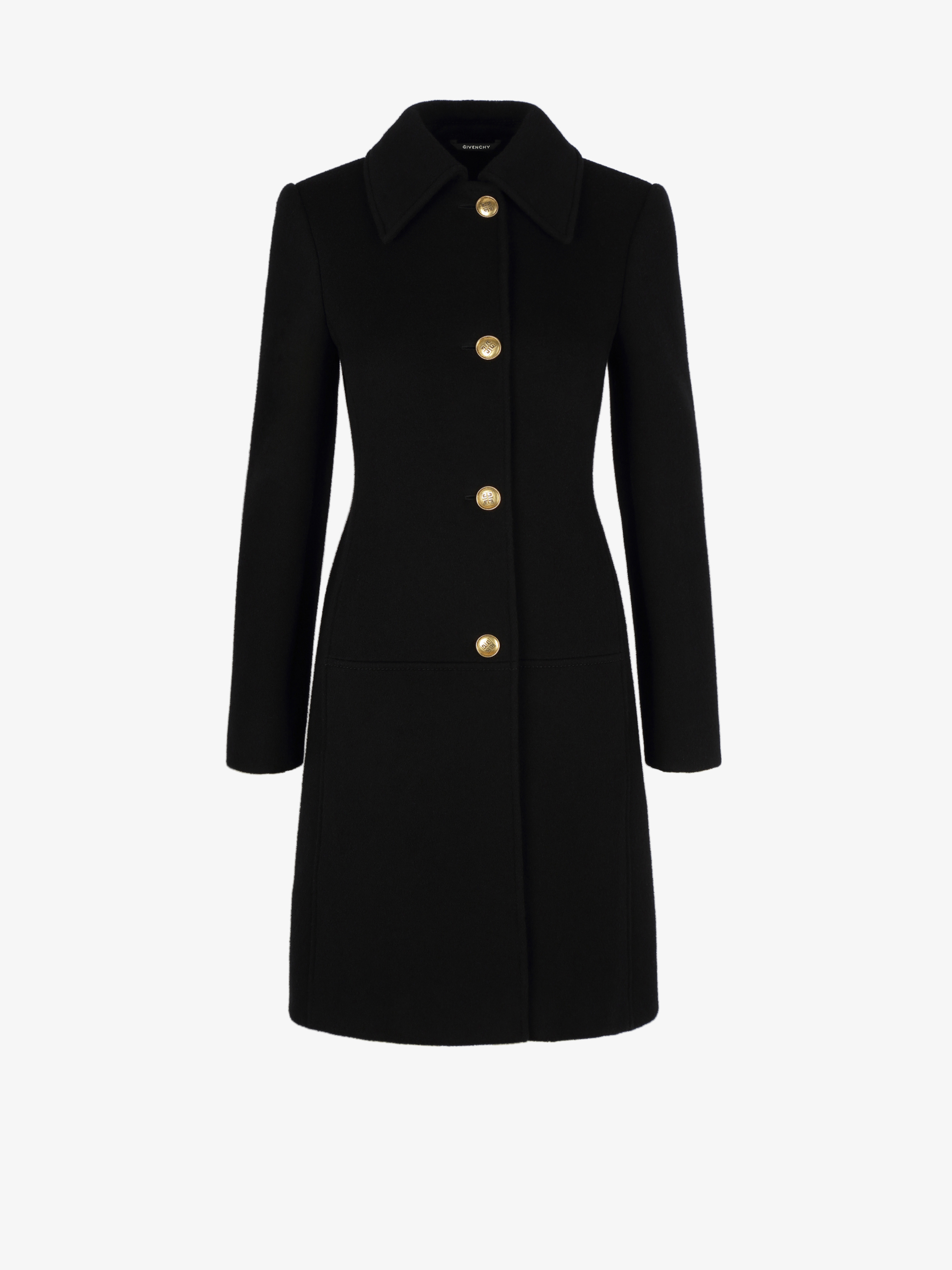 Coat in wool and cashmere with 4G buttons and chain