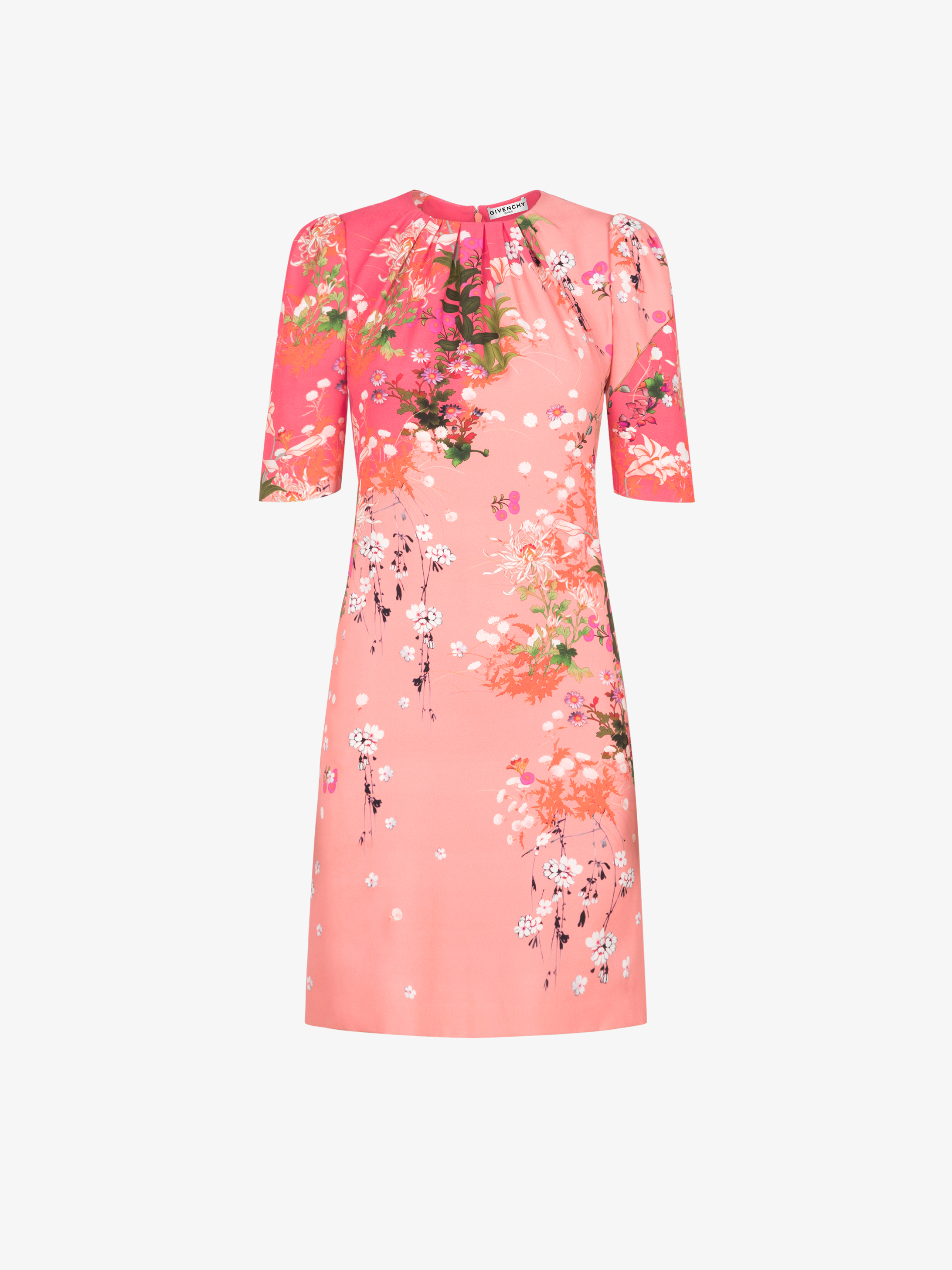 Floral printed dress in crêpe de satin