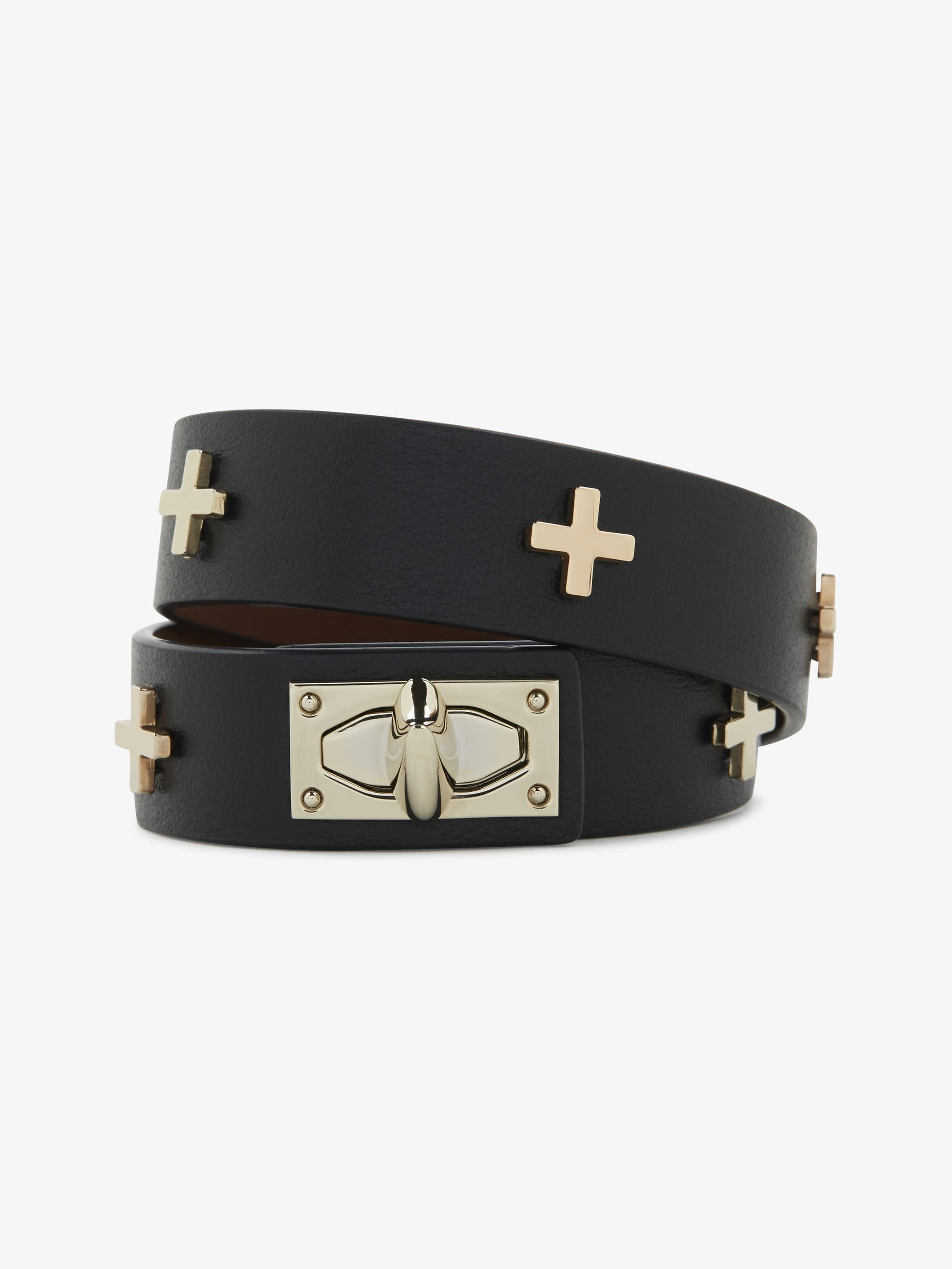 Two row Shark Lock leather bracelet
