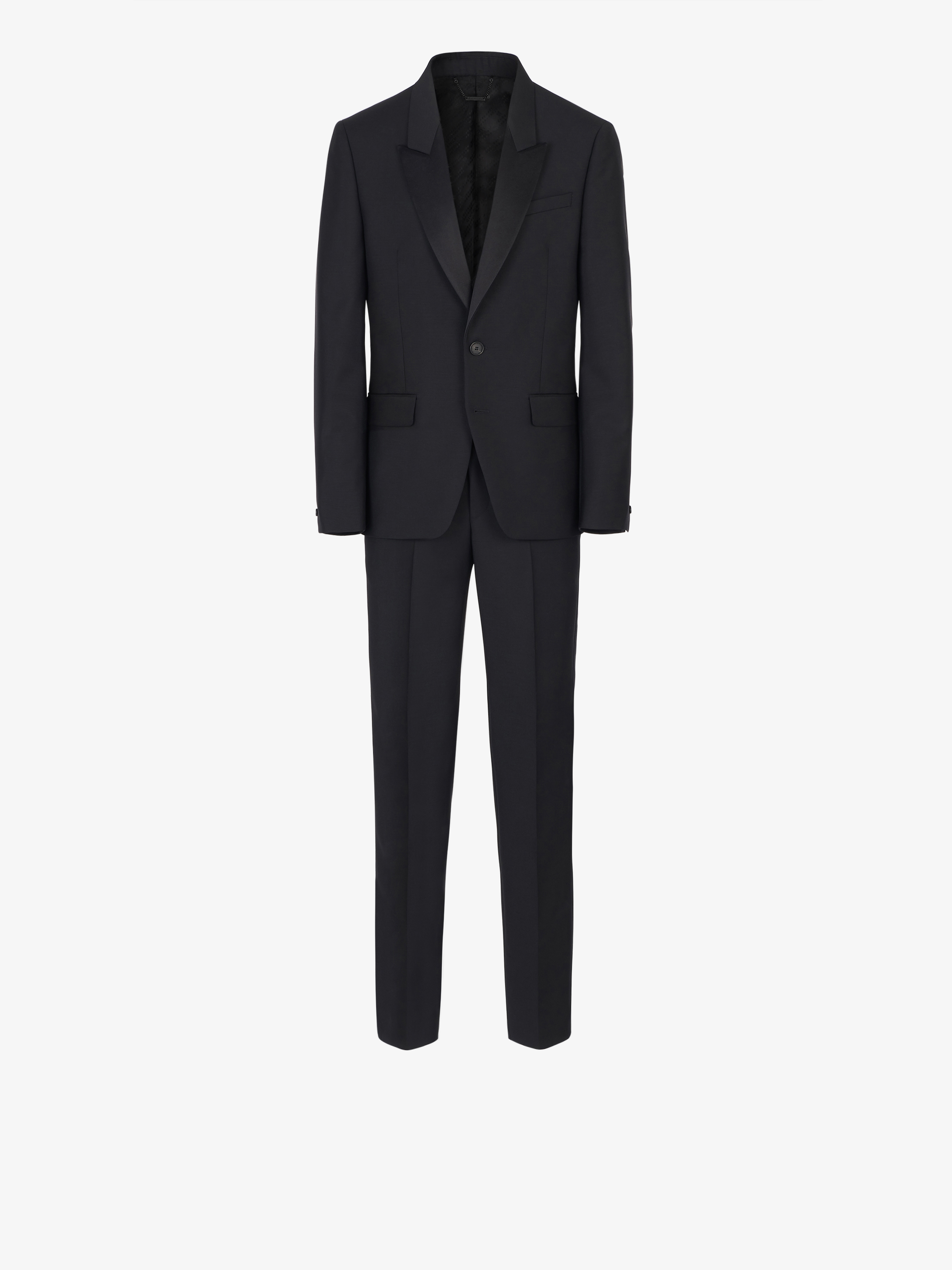 Slim fit tuxedo suit in wool and mohair with satin collar
