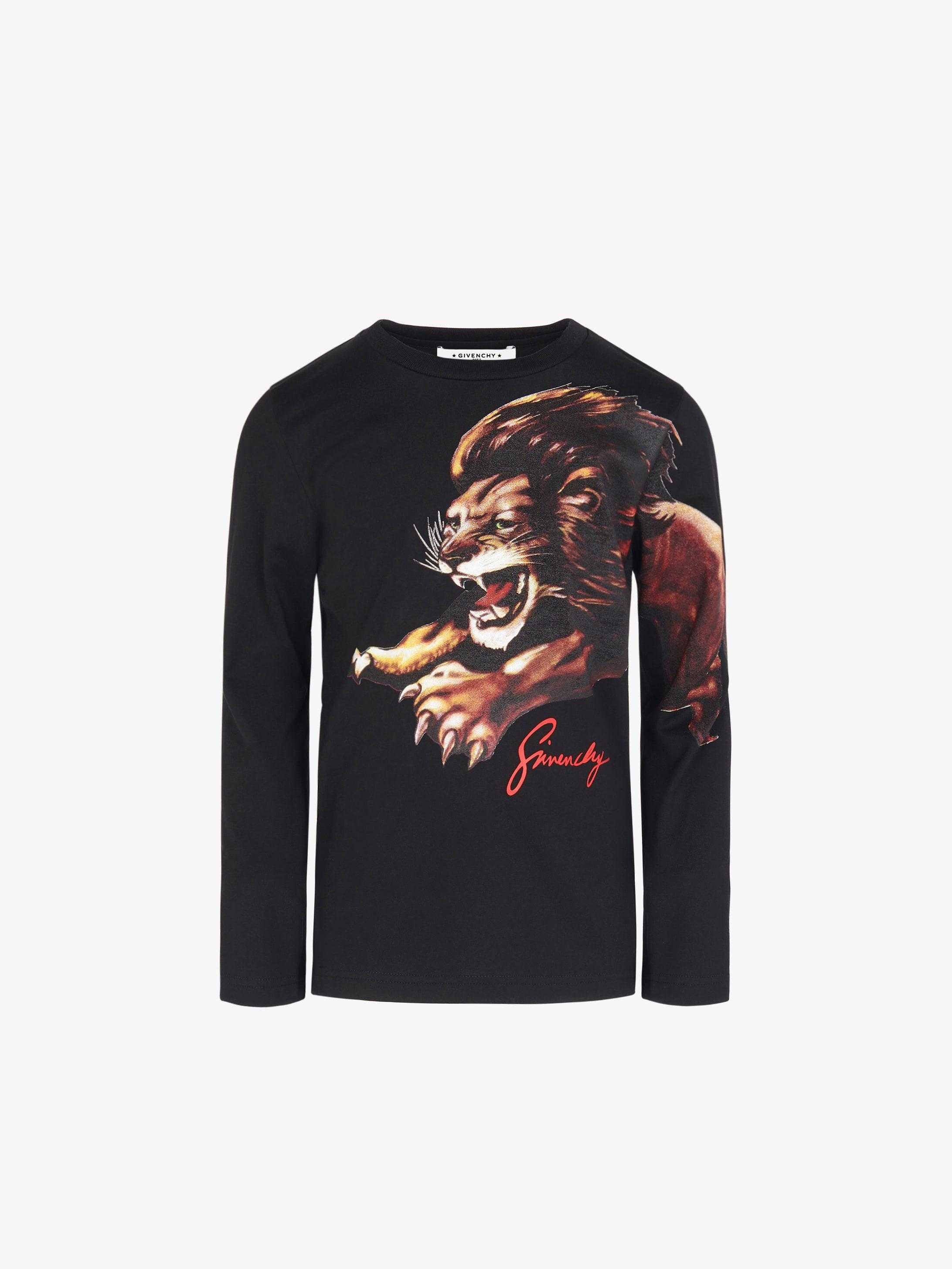 狮子座印花长袖T恤