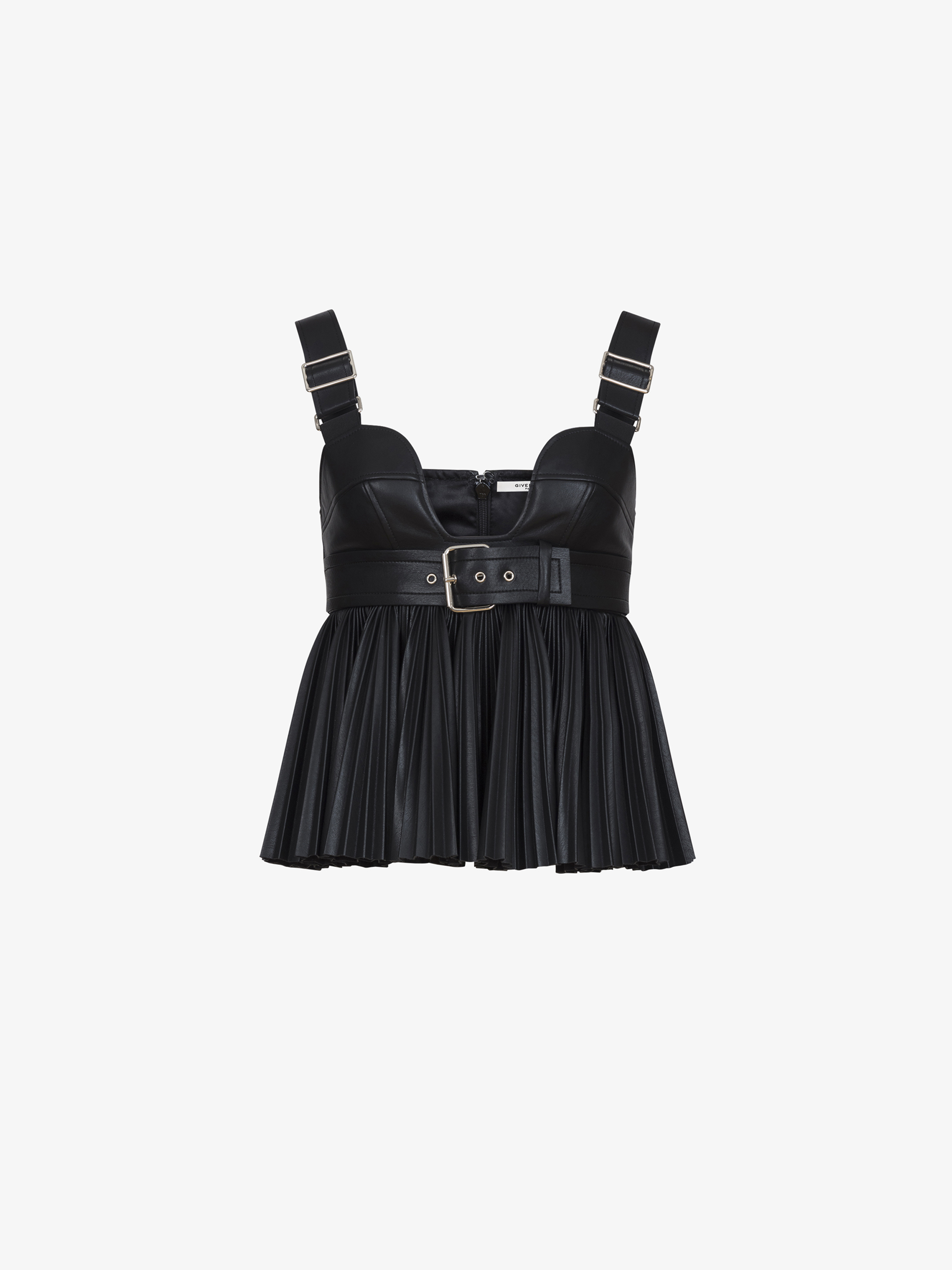 Pleated tank top in faux leather