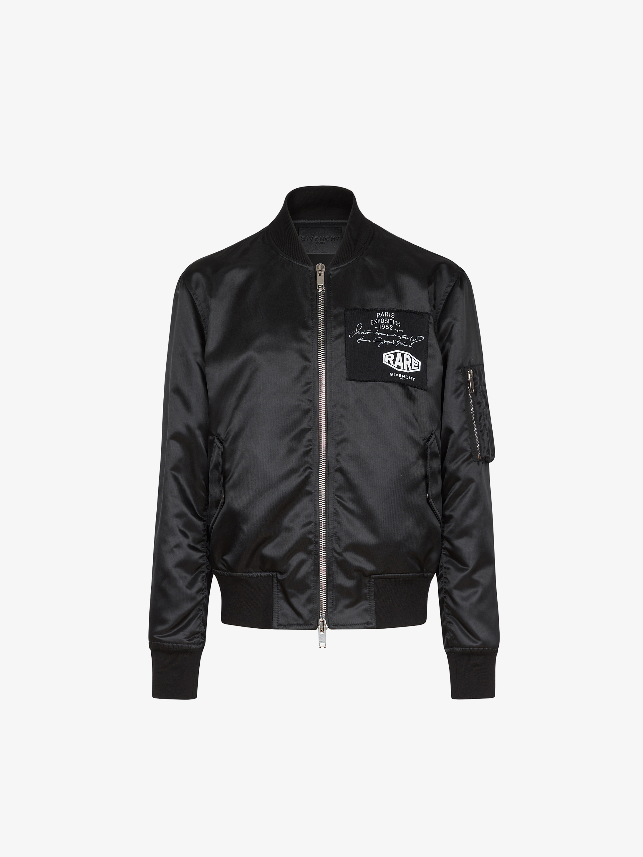 Bomber in shiny nylon with patchs