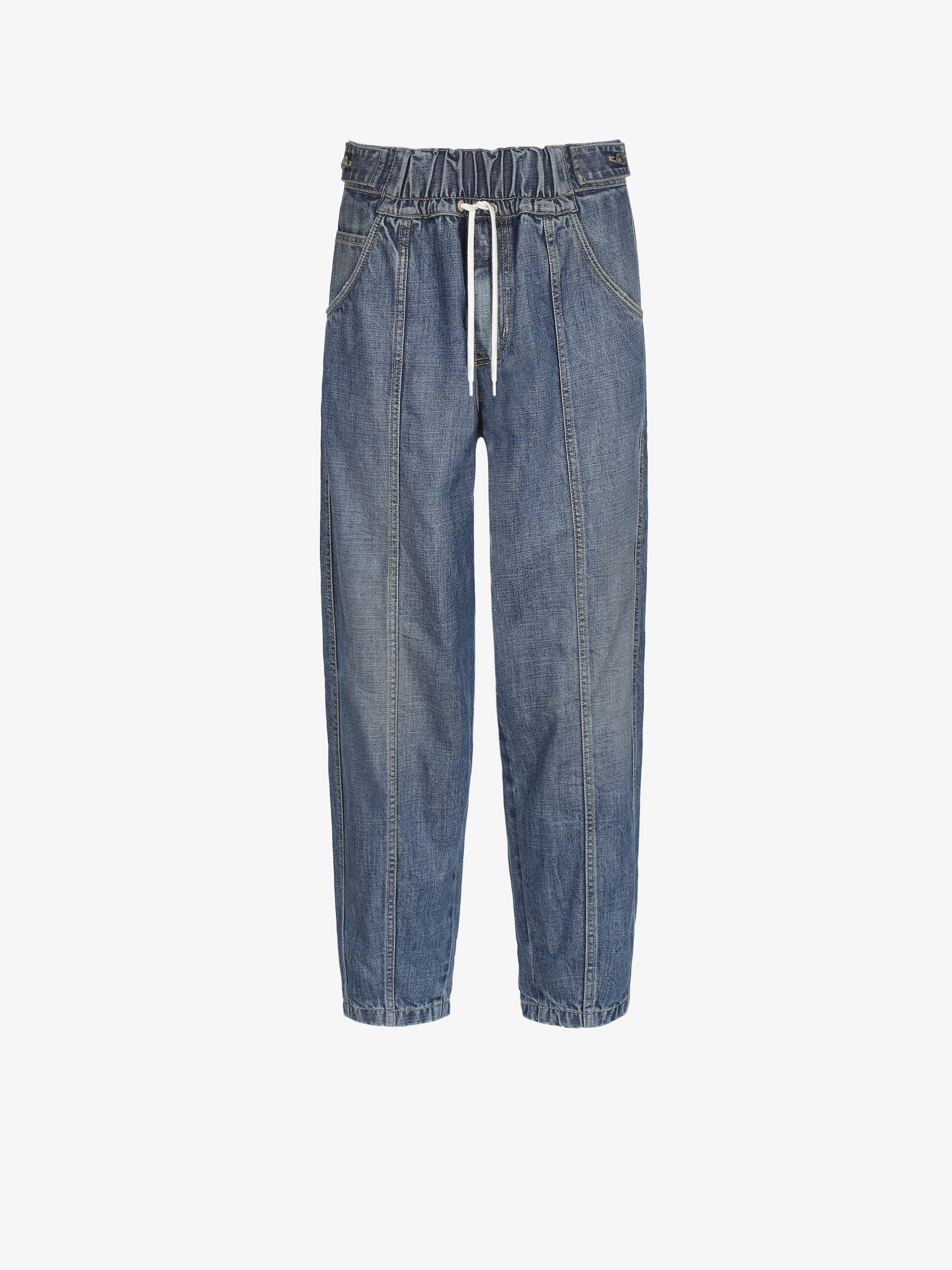 Jogger pants in denim with contrasted string