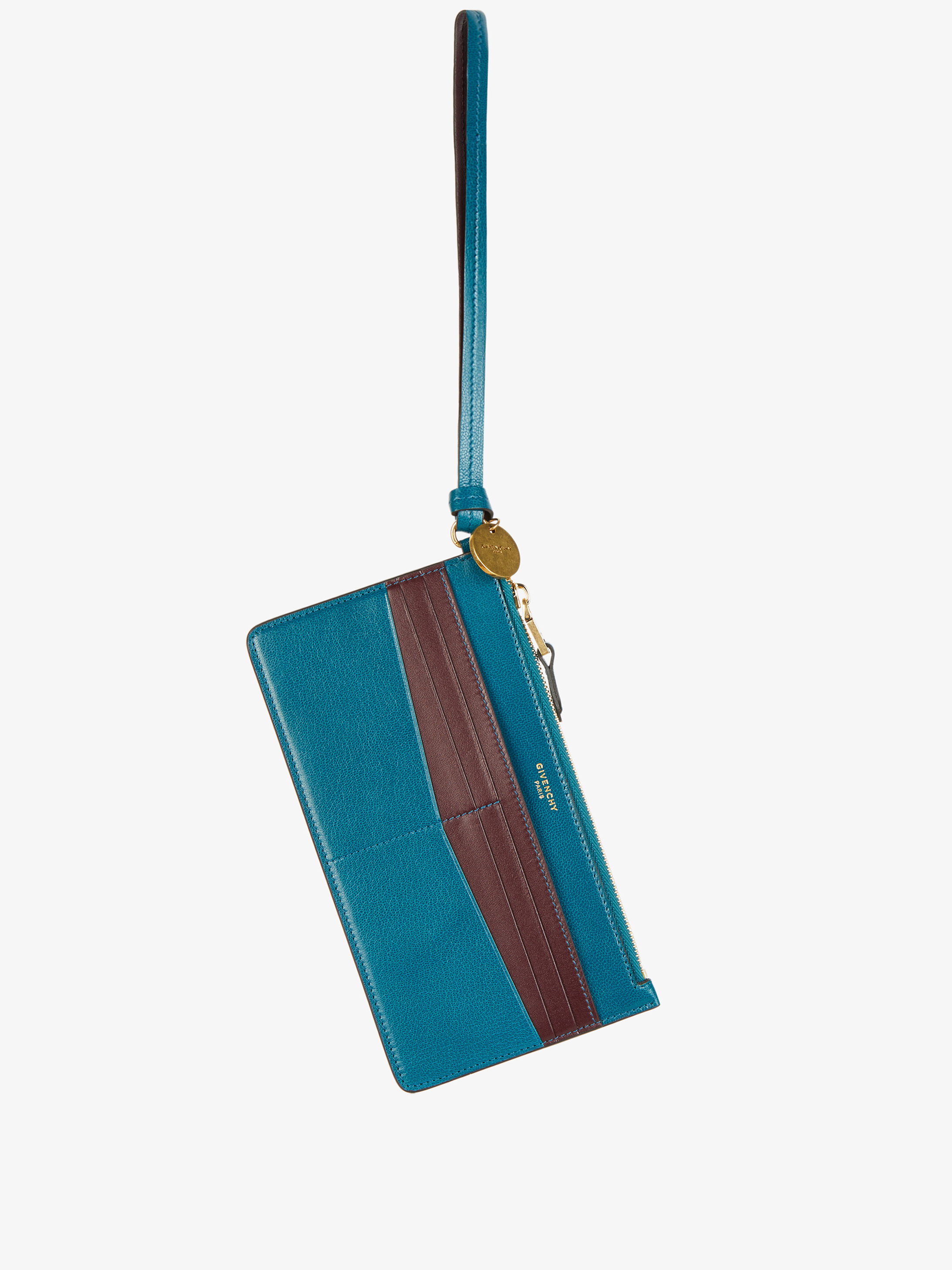 Long zipped card case in two-toned leather with wristlet