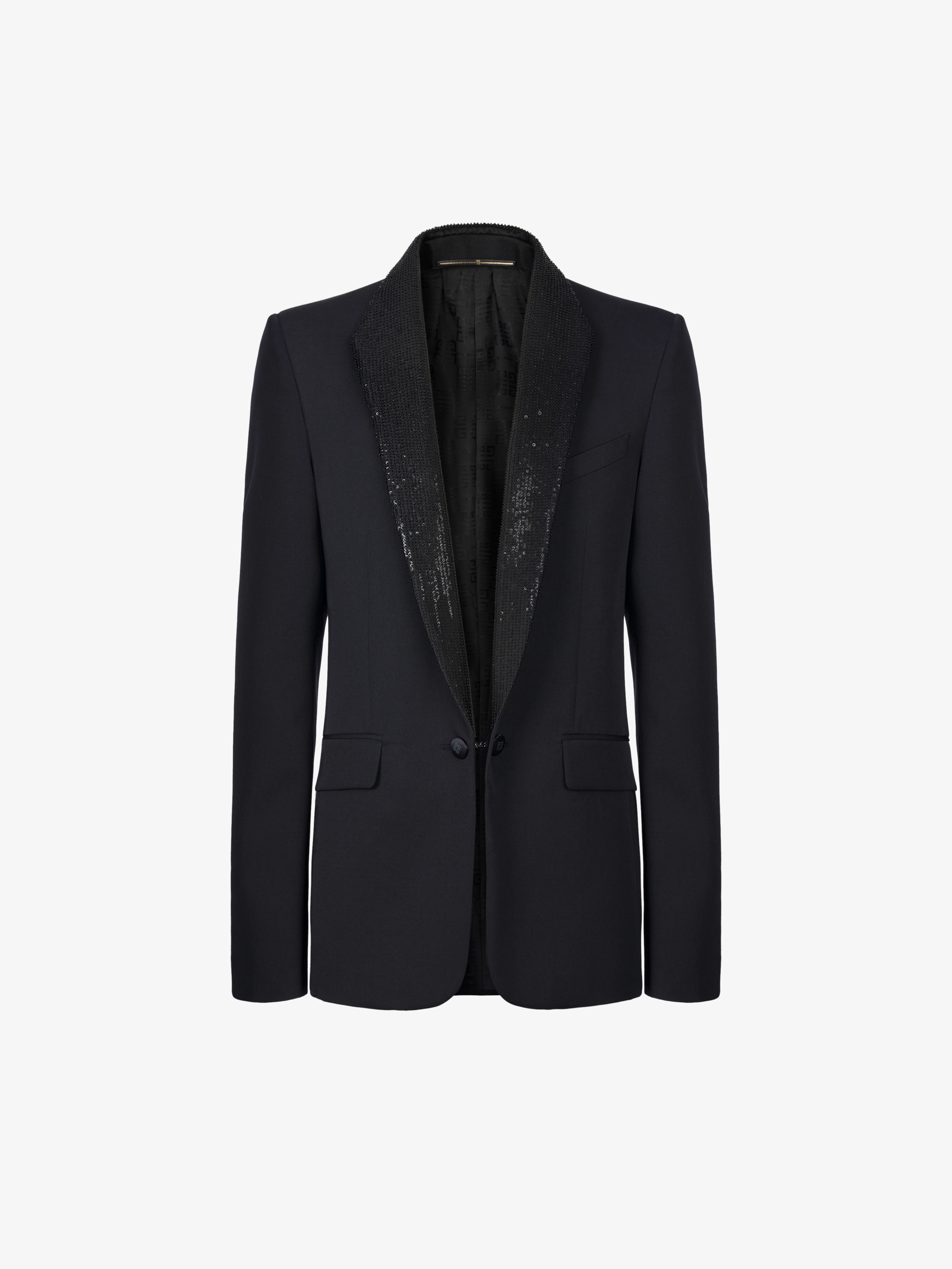 Tuxedo jacket with sequins embroidered collar