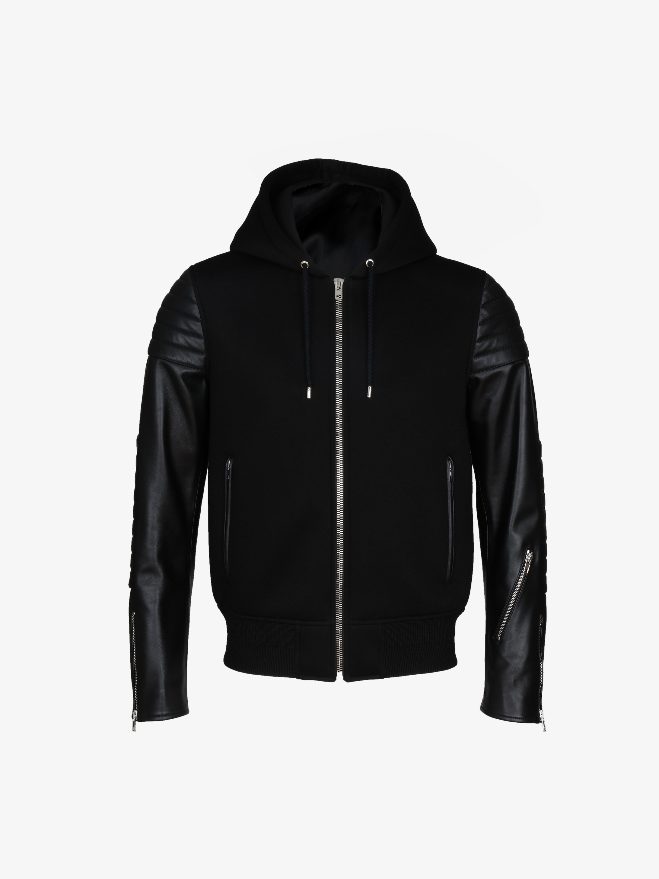 Neoprene and leather zipped hoodie