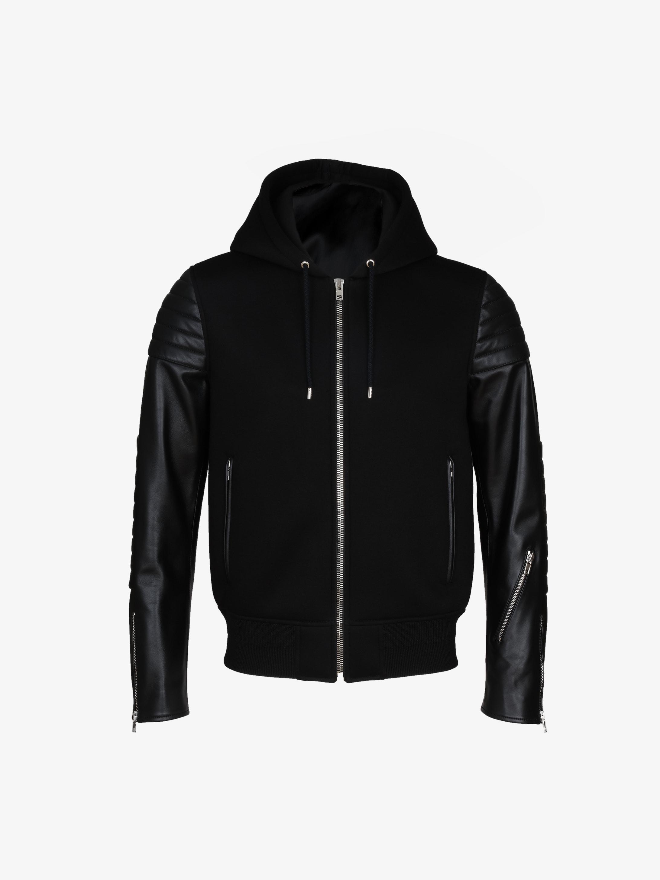Neoprene and leather zipped hoodie