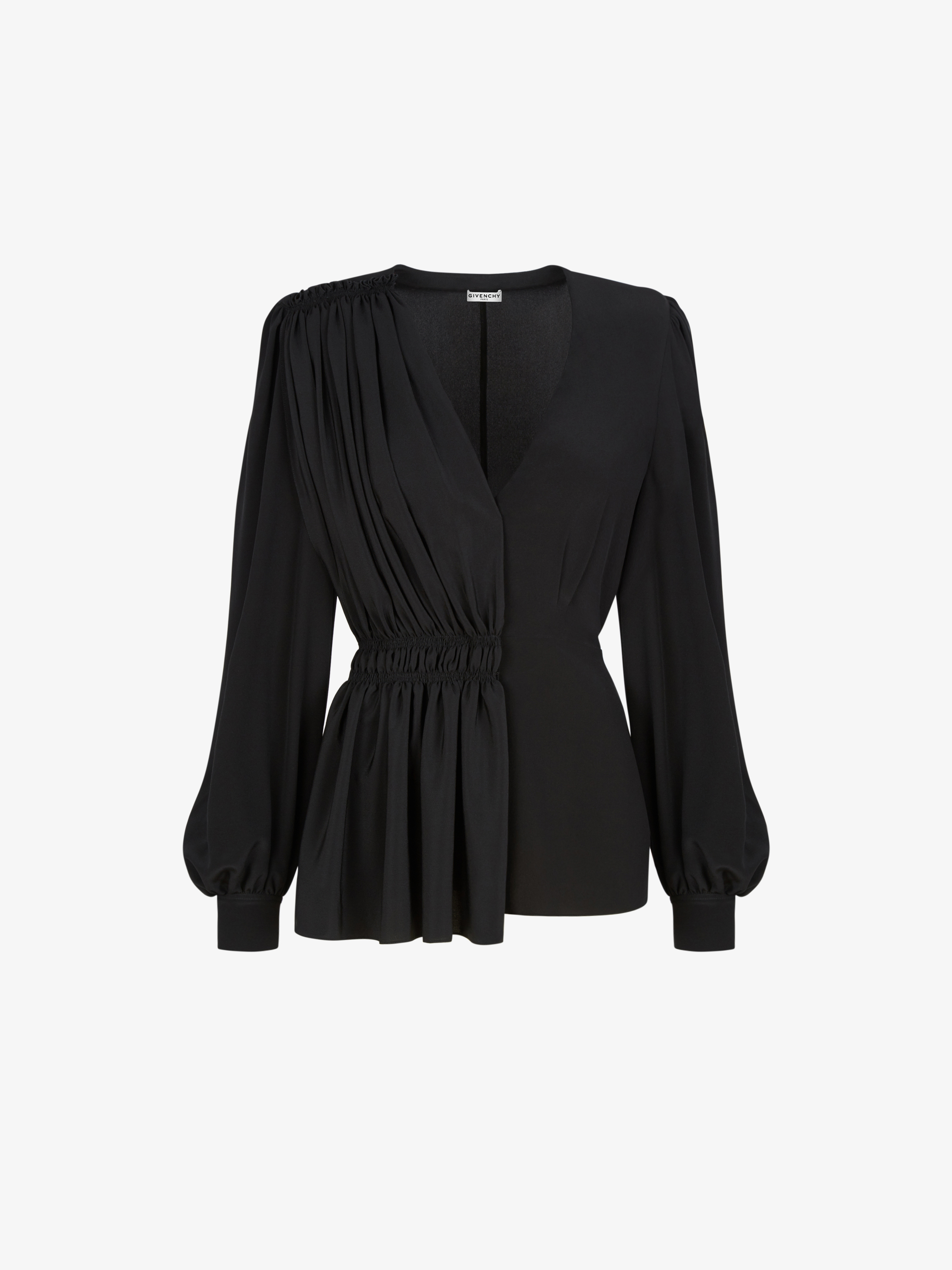 Asymetrical blouse with gathered panel