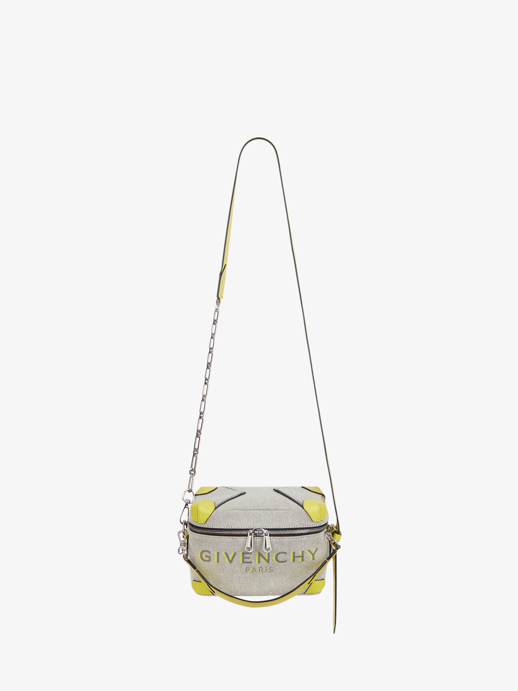 GIVENCHY PARIS Bond coffer bag in canvas and leather