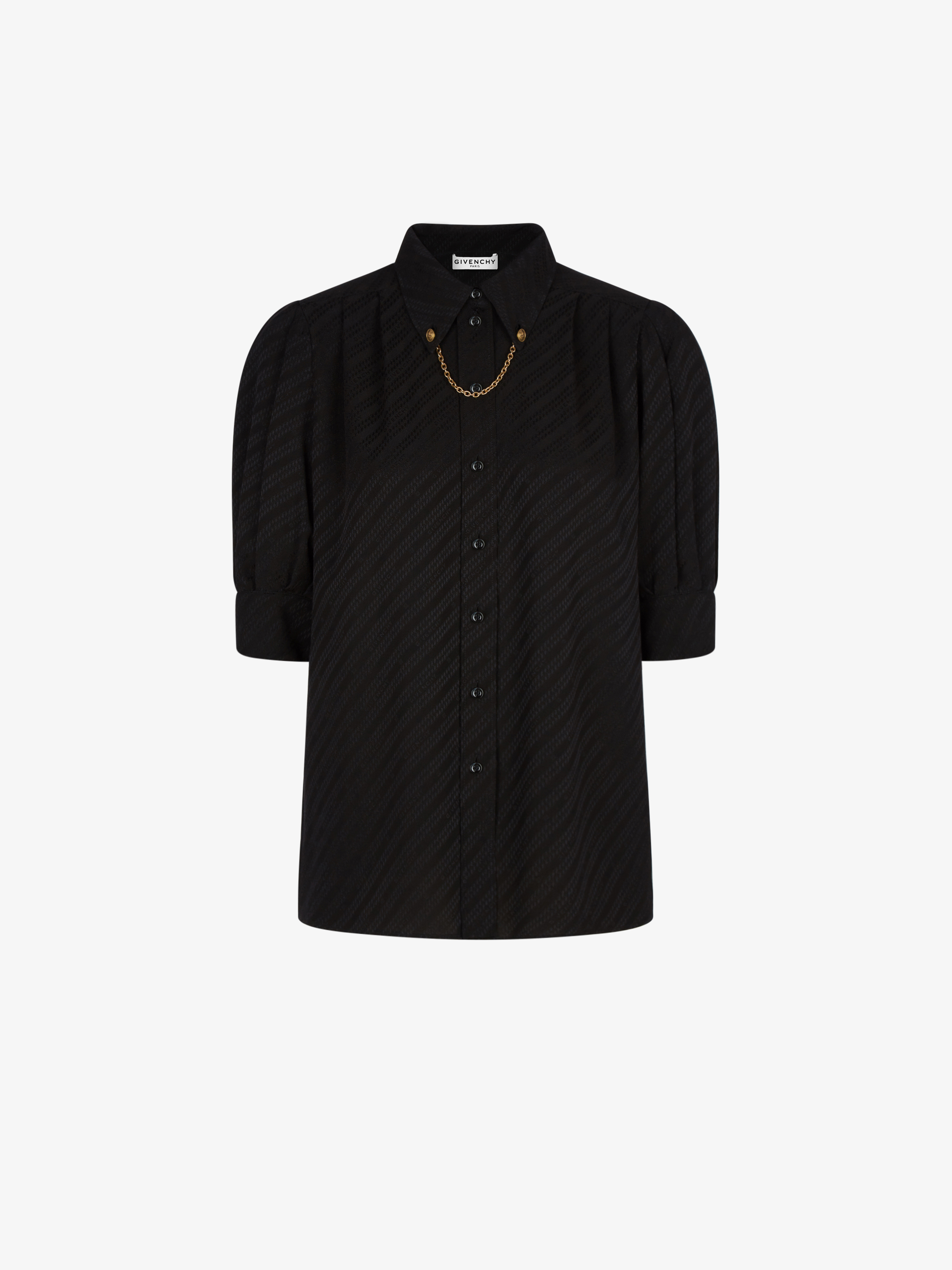 GIVENCHY chain shirt in silk with chain collar