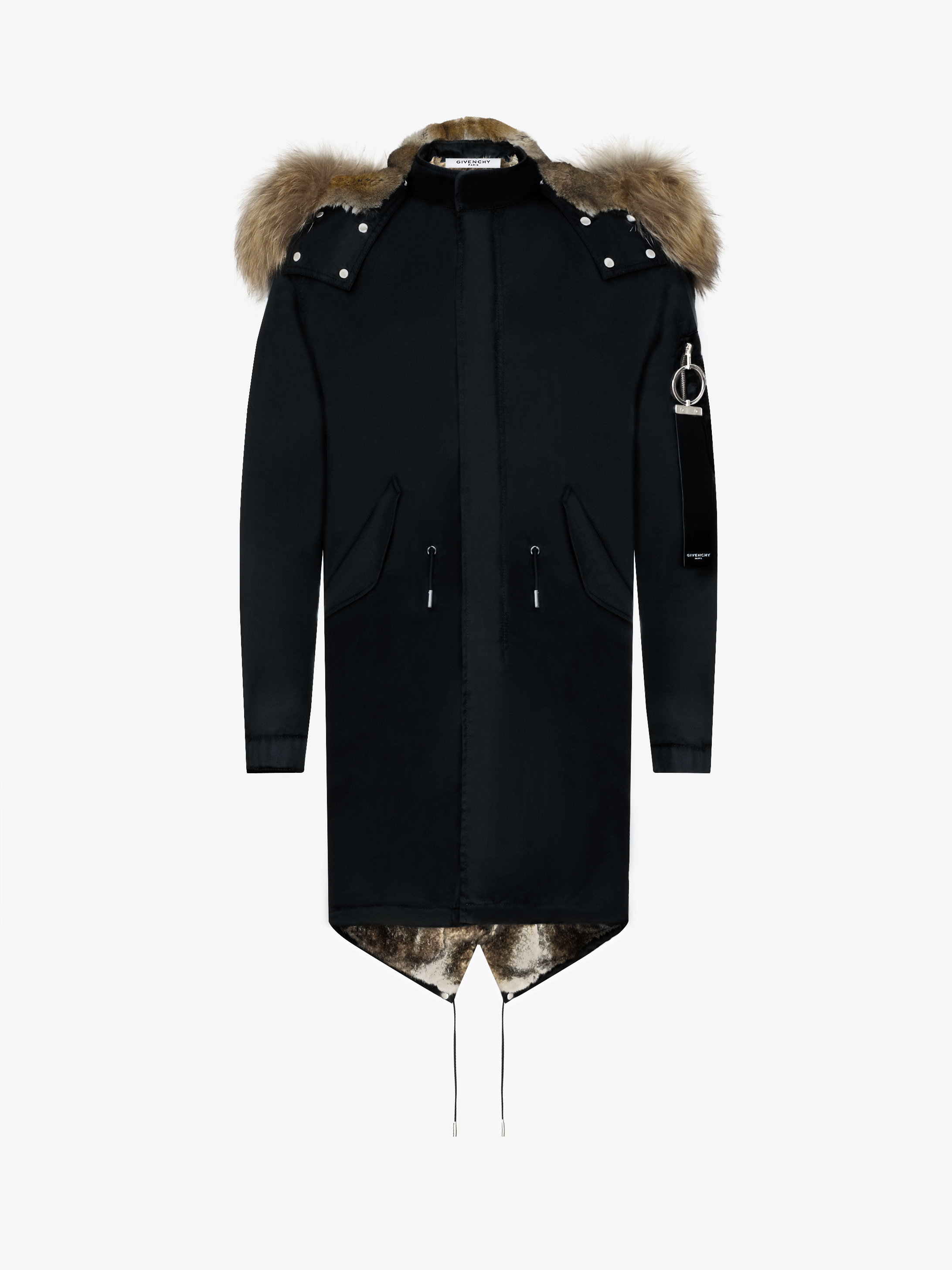 Hooded nylon parka with fur lining