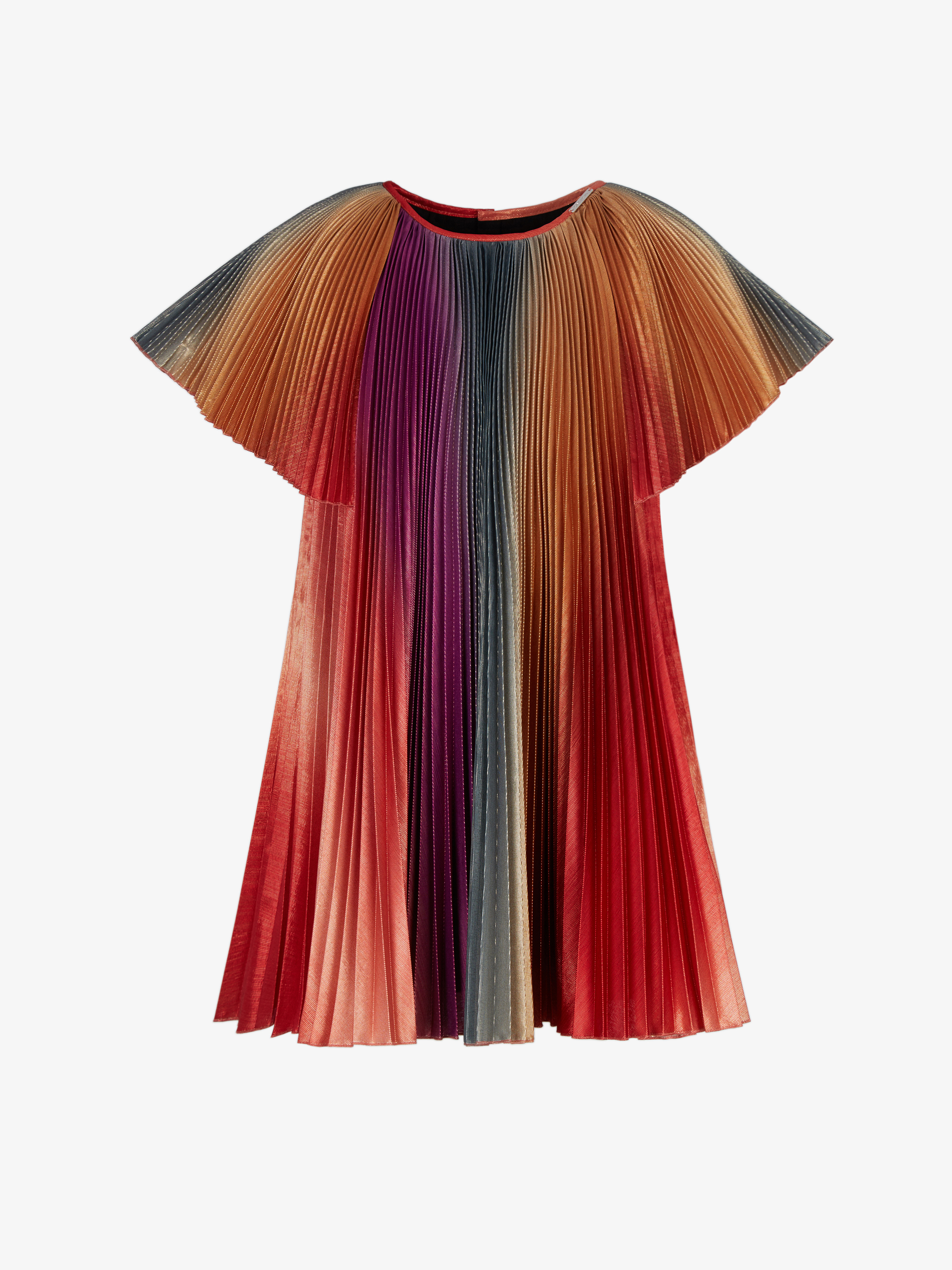 Pleated dress in lamé